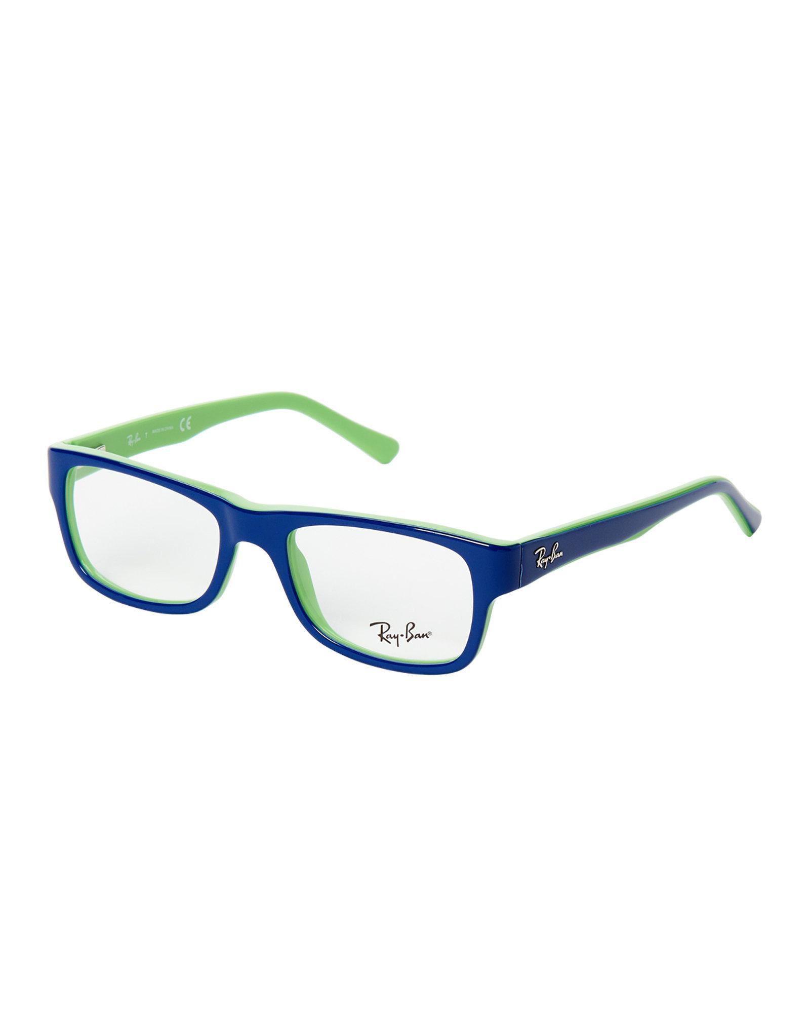 e1afda58f5a Lyst - Ray-Ban Rb5268 Blue   Green Rectangle Optical Frames in Blue ...