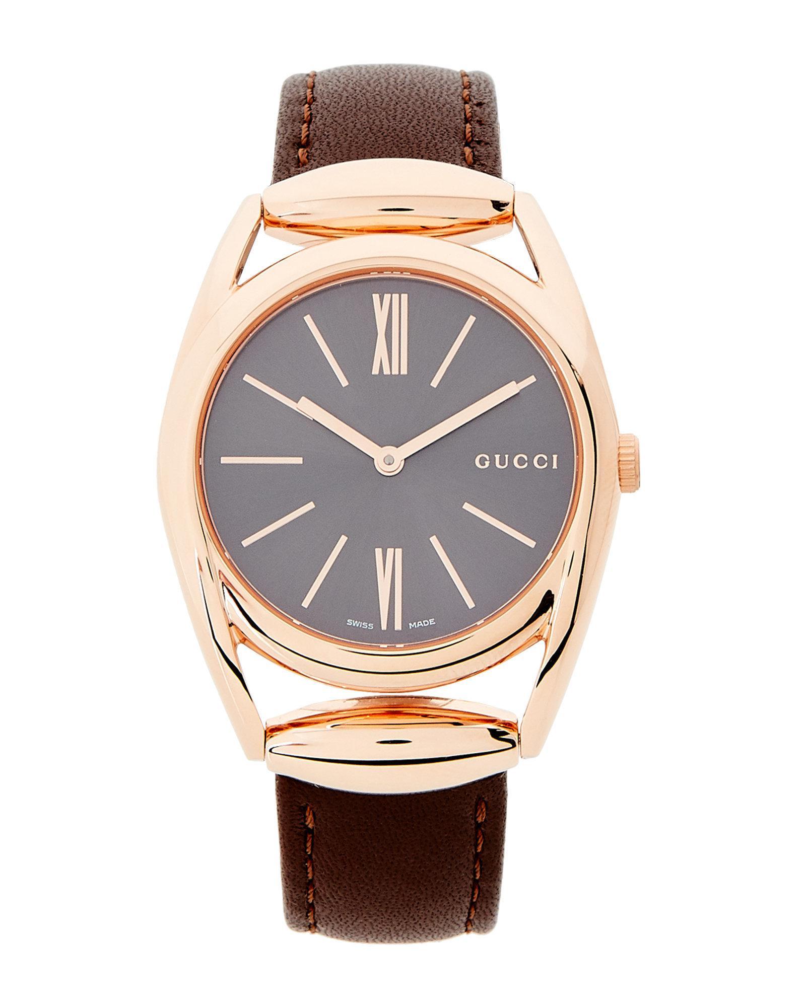 9d20f61d8d6 Lyst - Gucci Ya140408 Horsebit Rose Gold-tone   Brown Watch