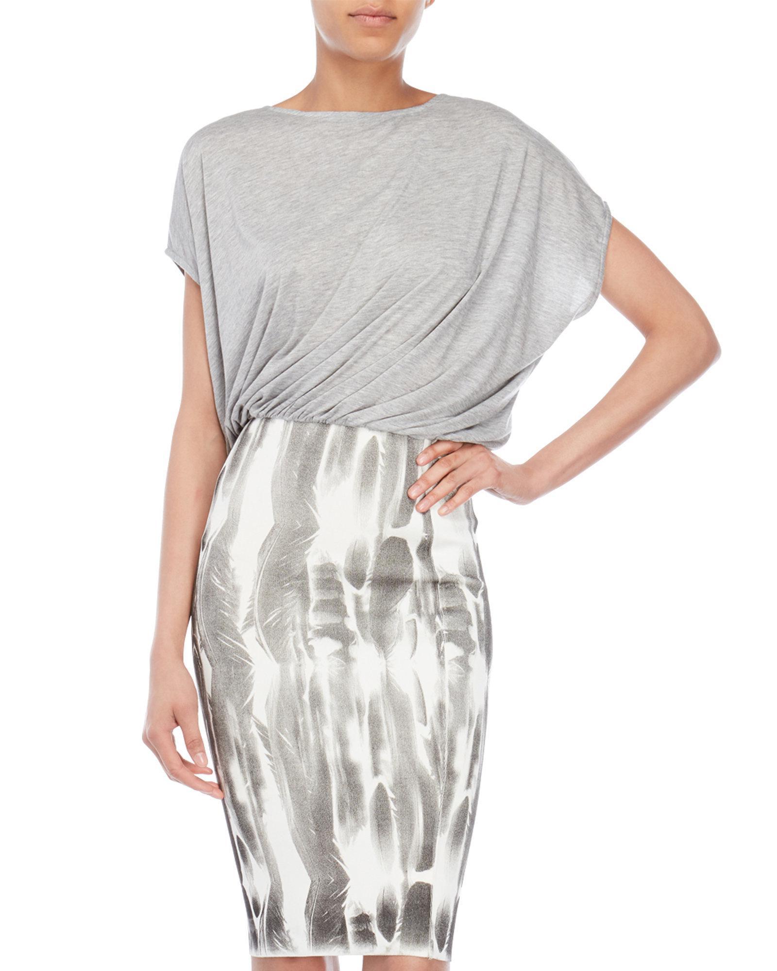 90b9b44d95 Lyst - Faith Connexion Feather Print Sheath Dress in Gray