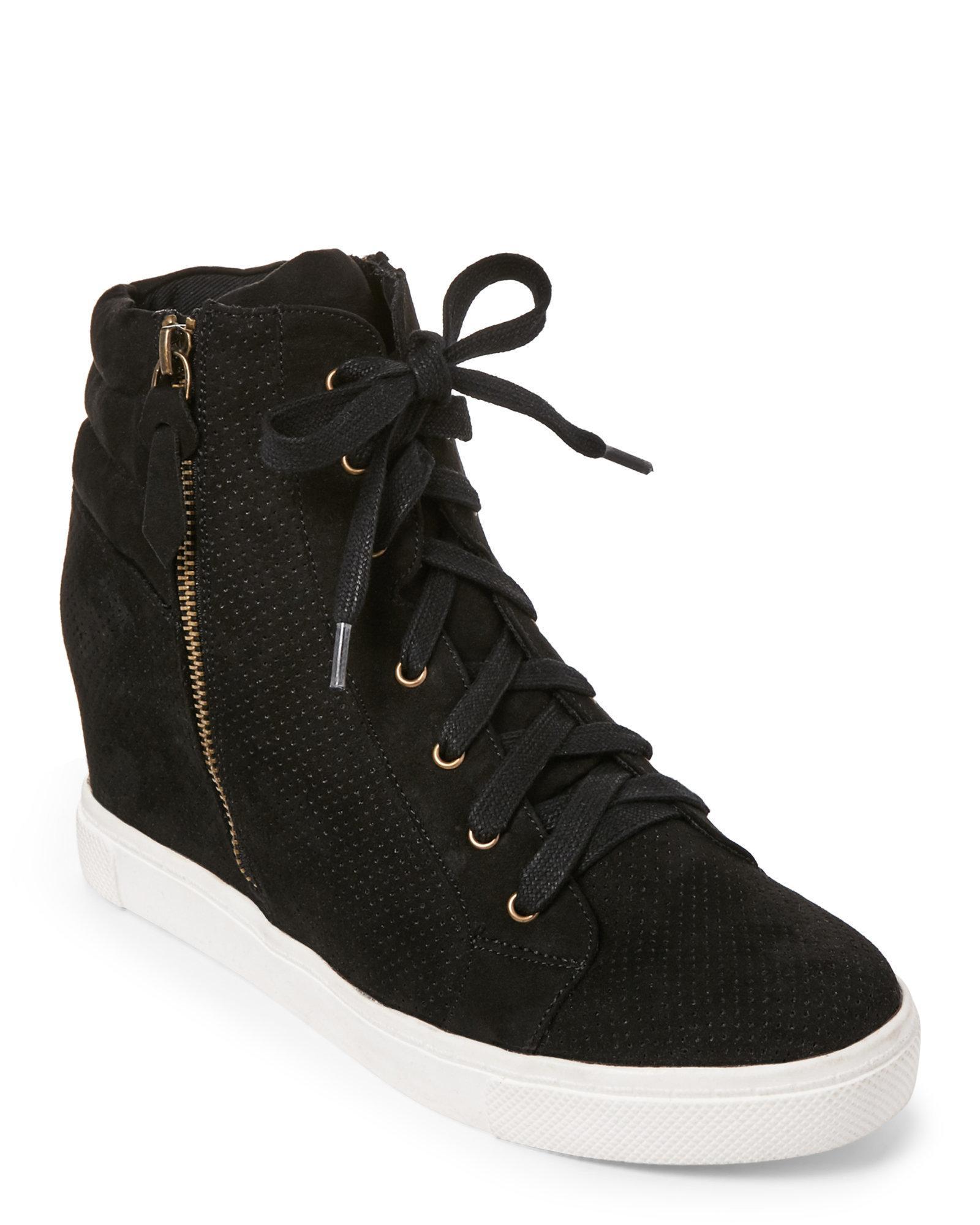 Lyst Steve Madden Black Llynn Perforated Wedge Sneakers