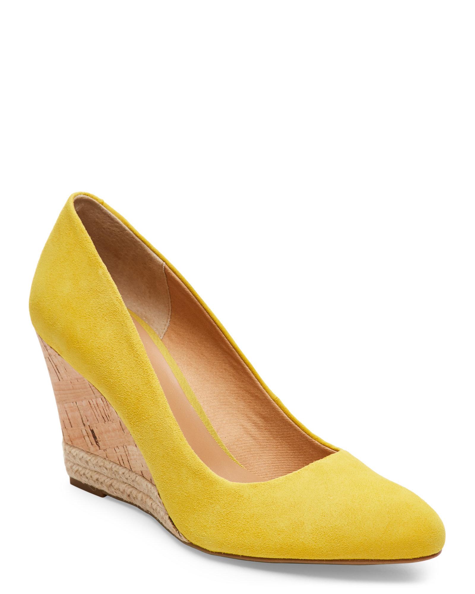 Lyst Franco Sarto Saffron Calix Cork Wedges In Yellow
