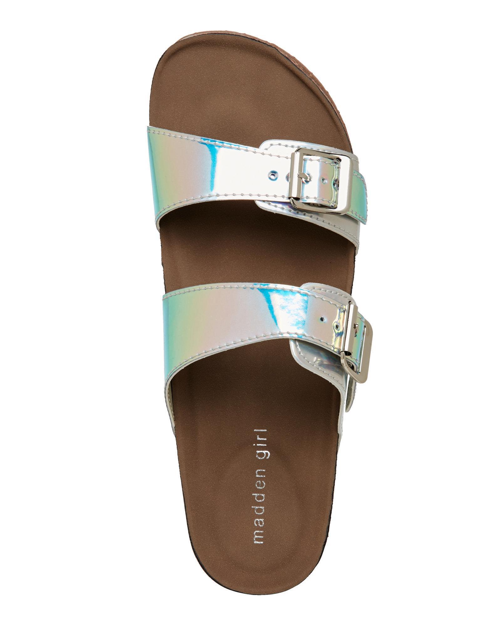 50b4688183cdb1 Lyst - Madden Girl Iridescent Brando Footbed Sandals