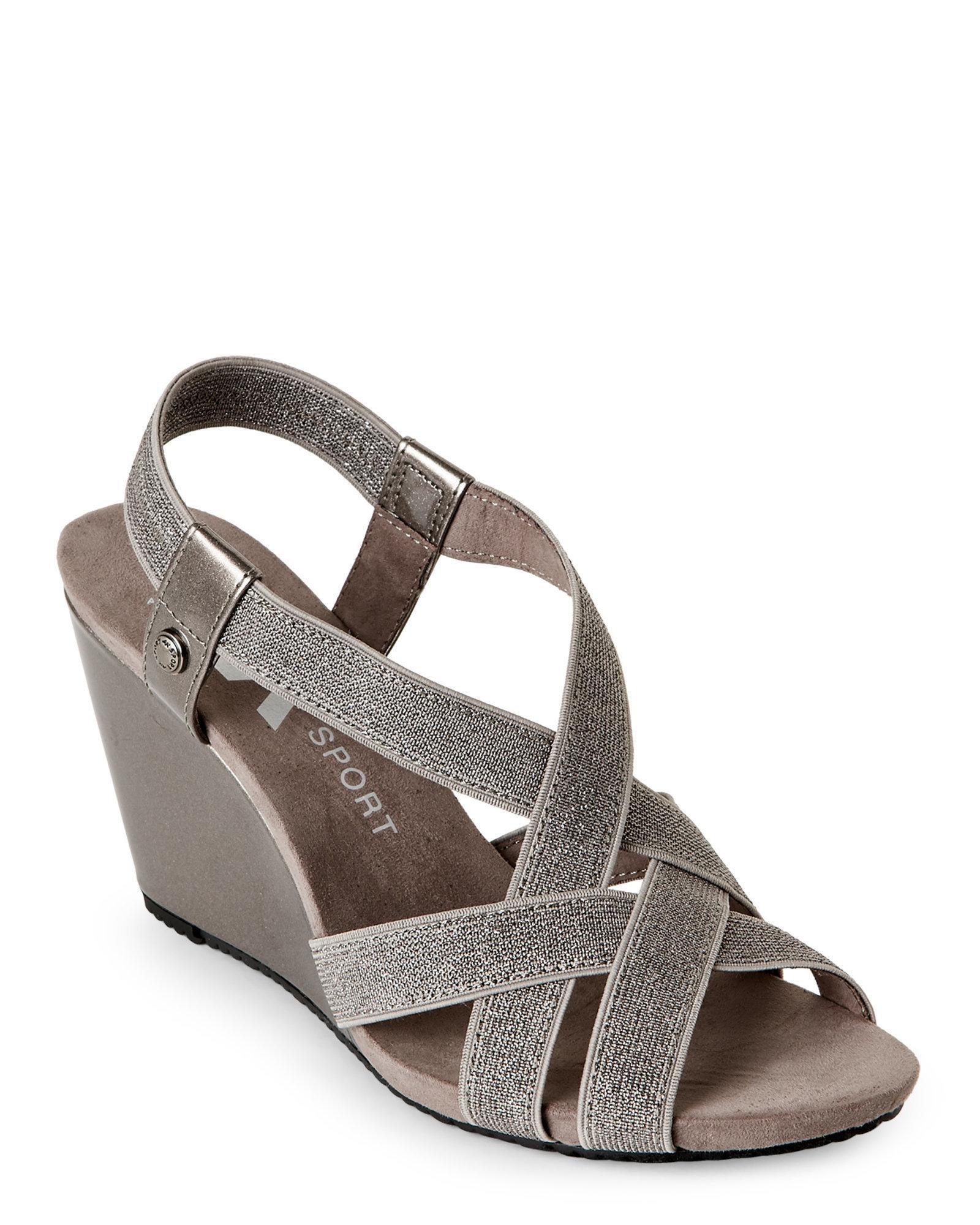 0764406623b Lyst - Ak Anne Klein Pewter Tamryn Wedge Sandals