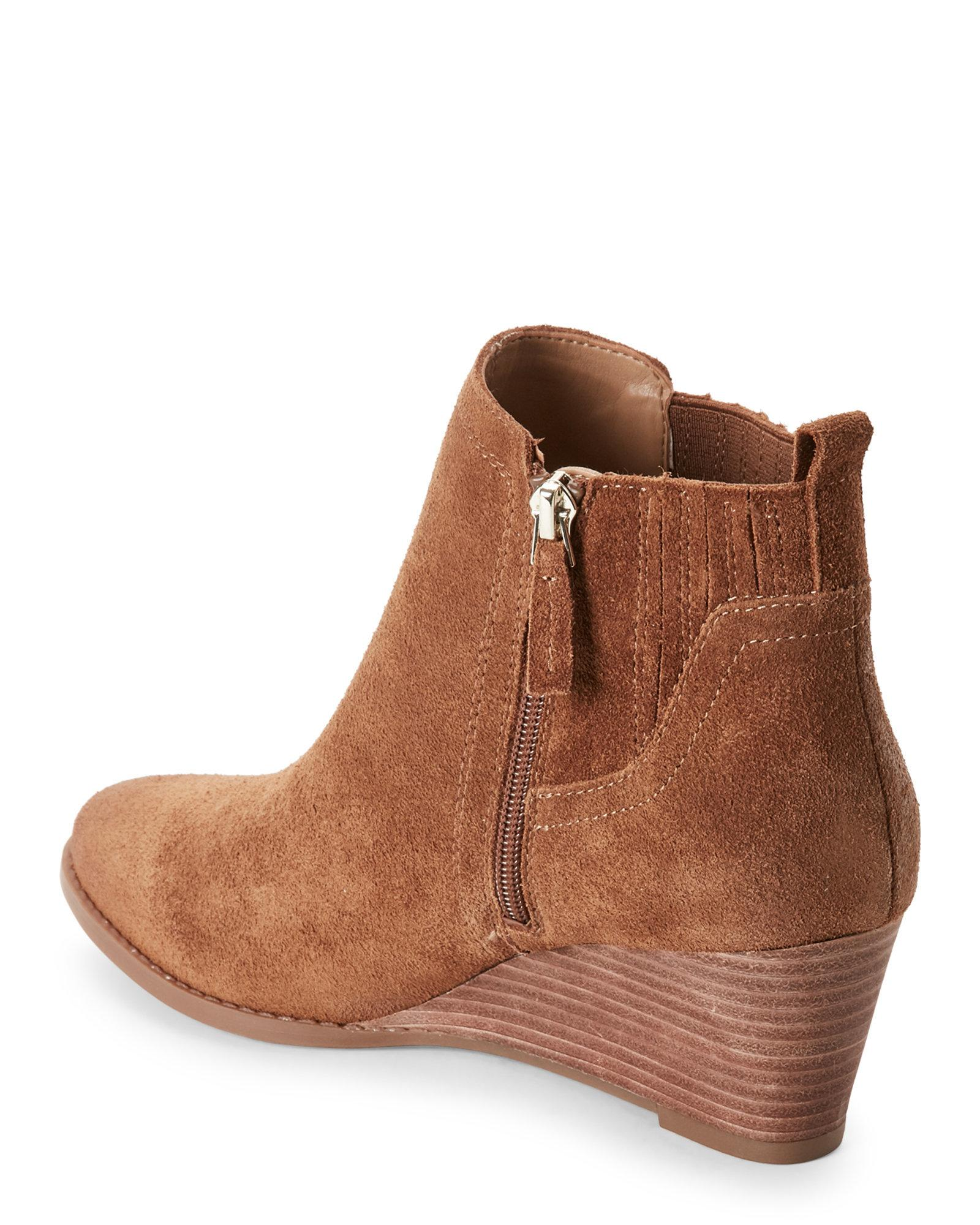 da8ad4104e0 Lyst - Franco Sarto Cognac Wayra Wedge Ankle Booties in Brown
