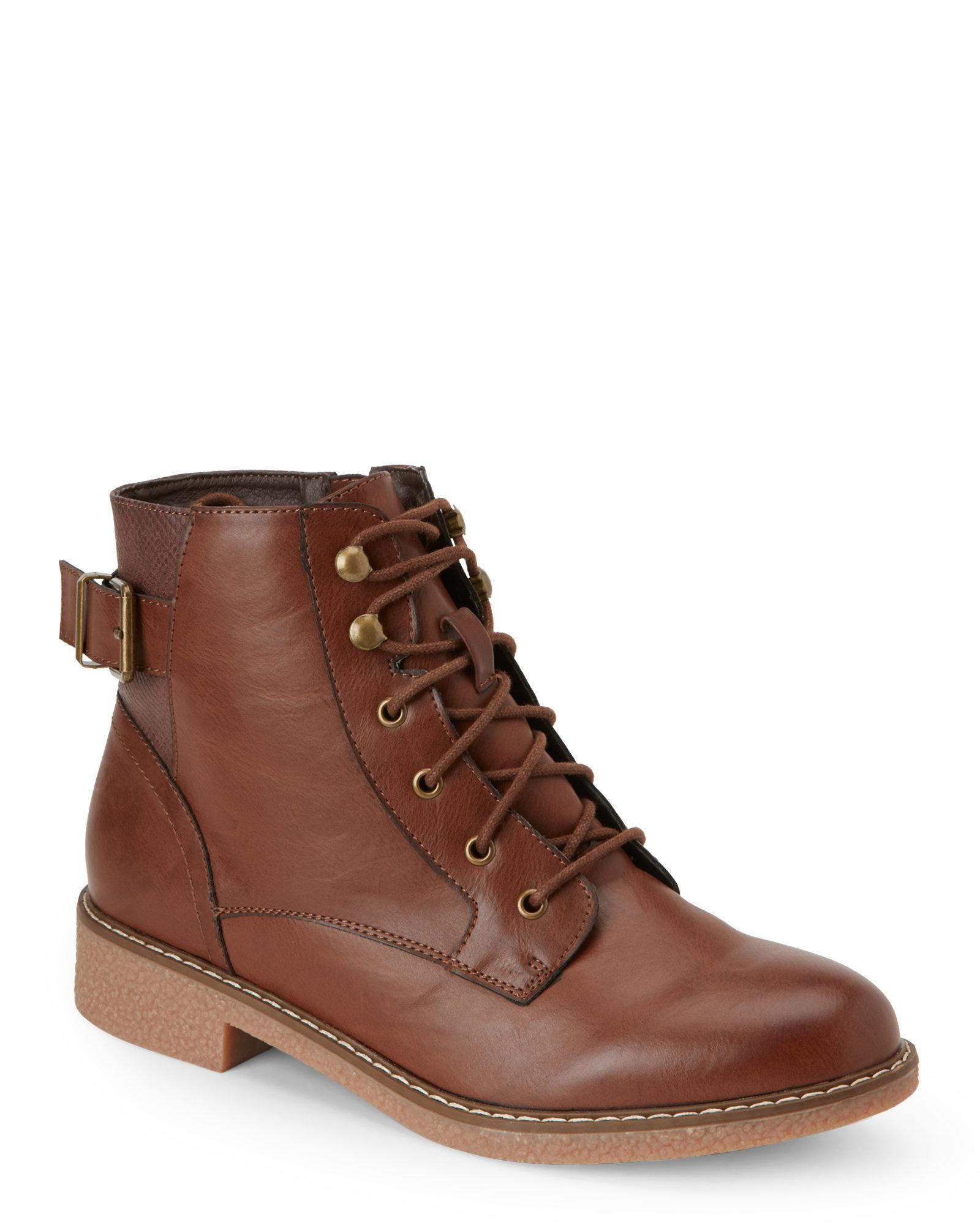 wanted brown nellis buckled combat boots in brown for
