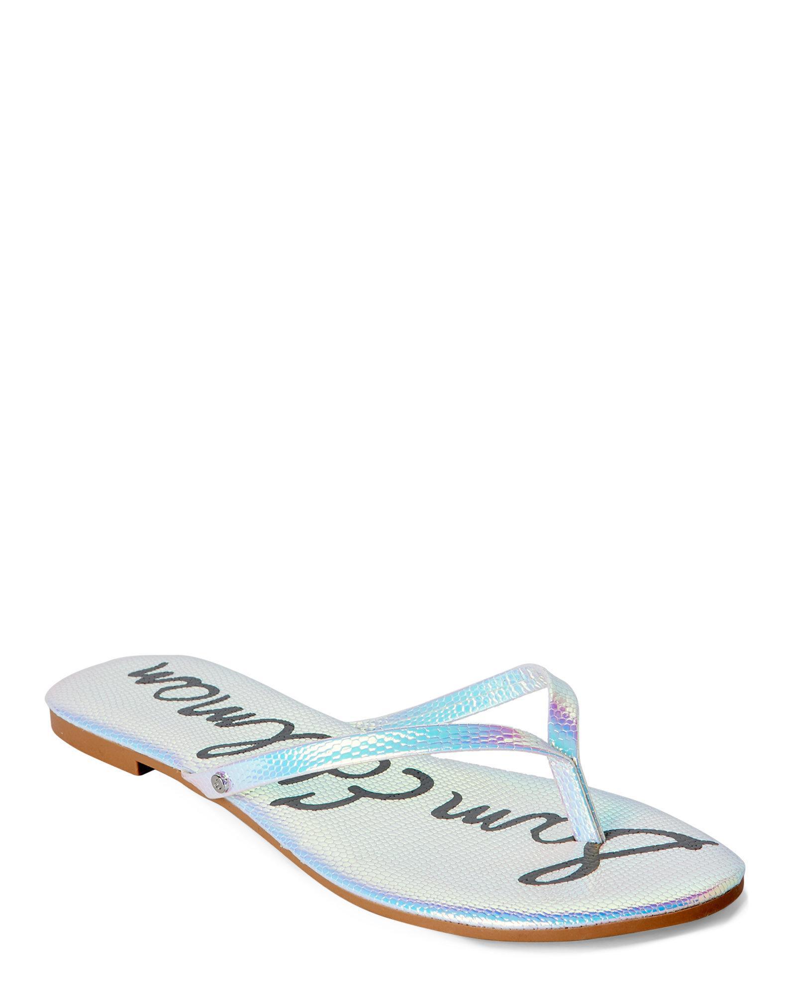 8d38ea70d6f0e Lyst - Sam Edelman Oliver Snake-Effect Flip Flops in White