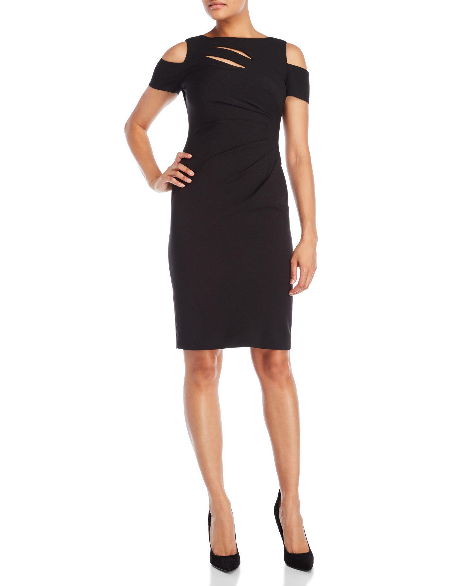 0e8199e07400 Lyst - Tahari Cold Shoulder Midi Sheath Dress in Black