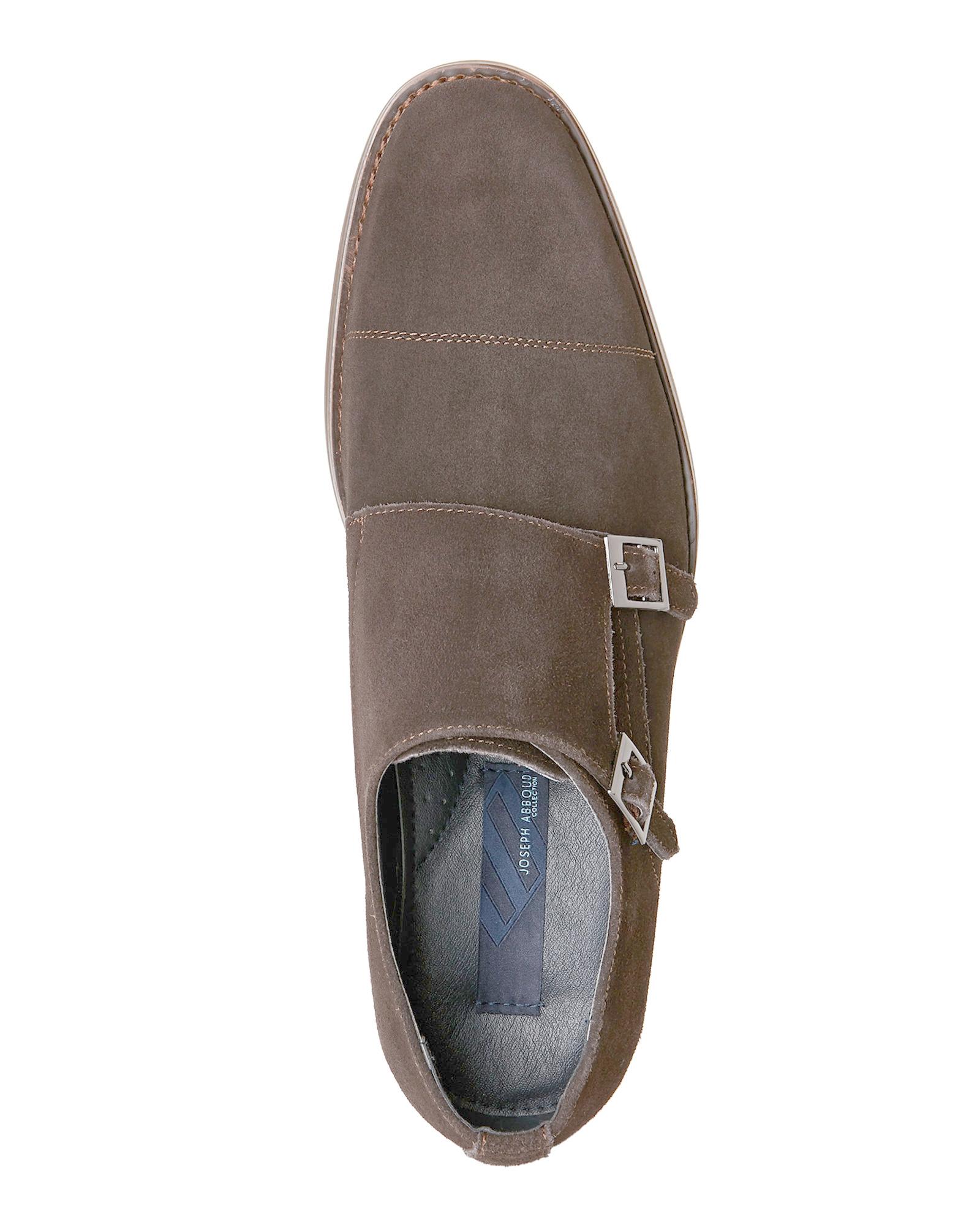 joseph abboud chocolate alfie cap toe monk shoes in