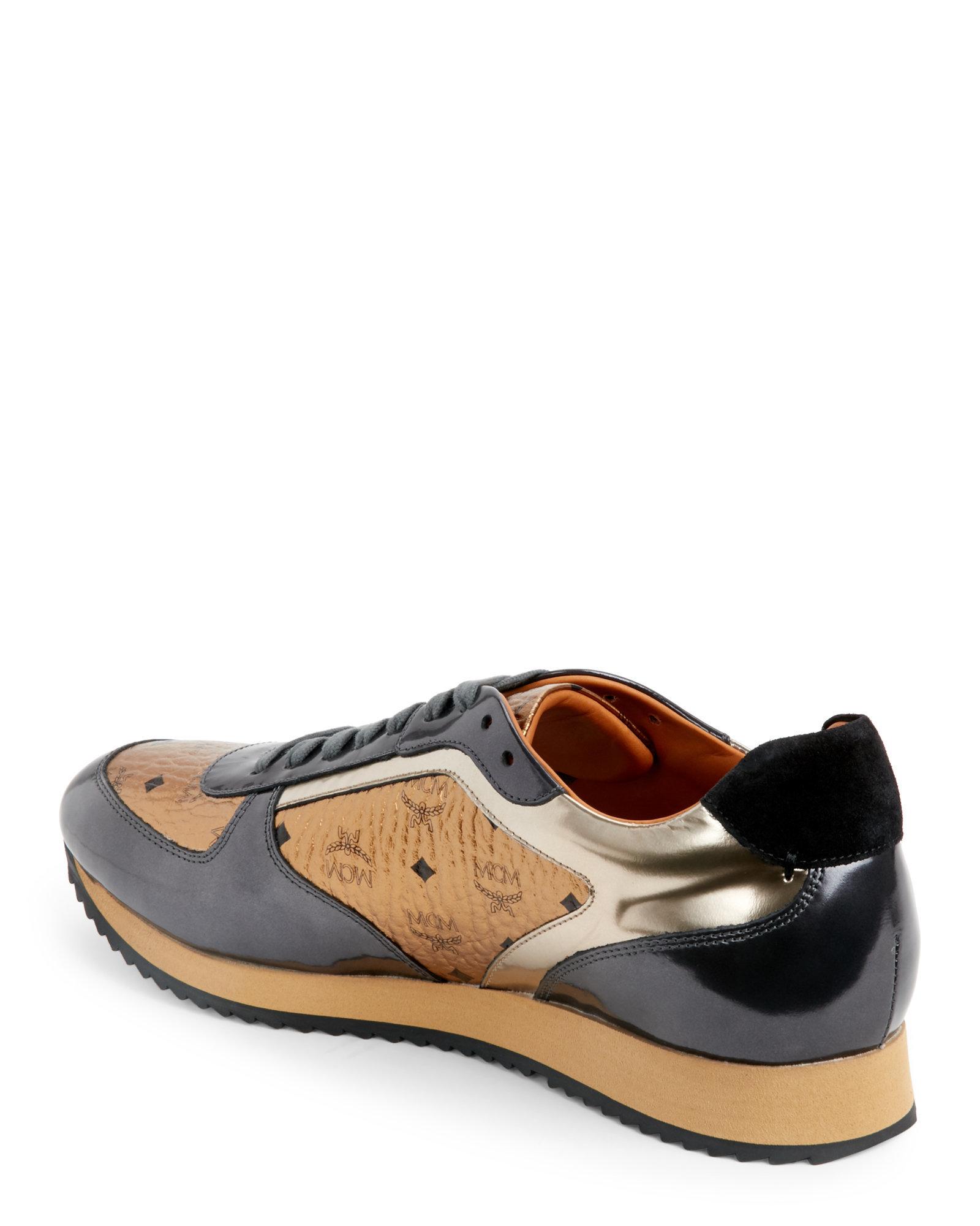 Lyst Mcm Bronze Metallic Visetos Jogger Sneakers In
