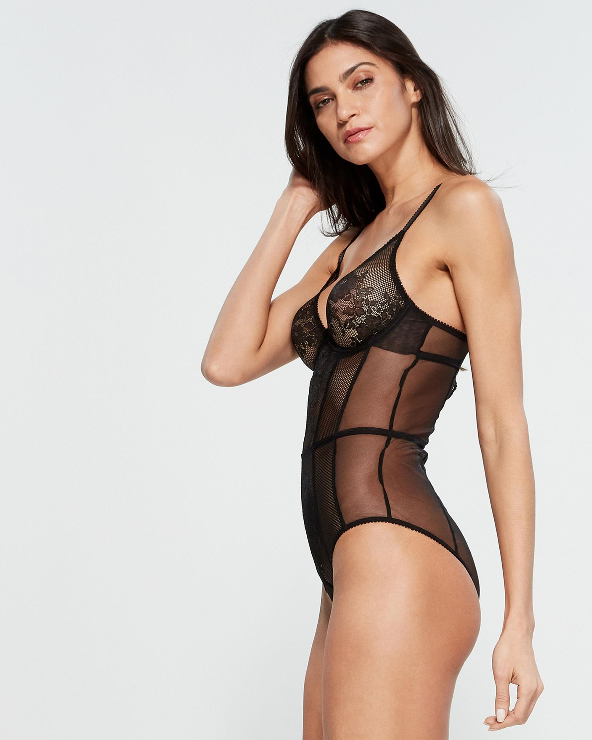 594fa29c32 Lyst - L Agent by Agent Provocateur Black Layla Sheer Bodysuit in Black