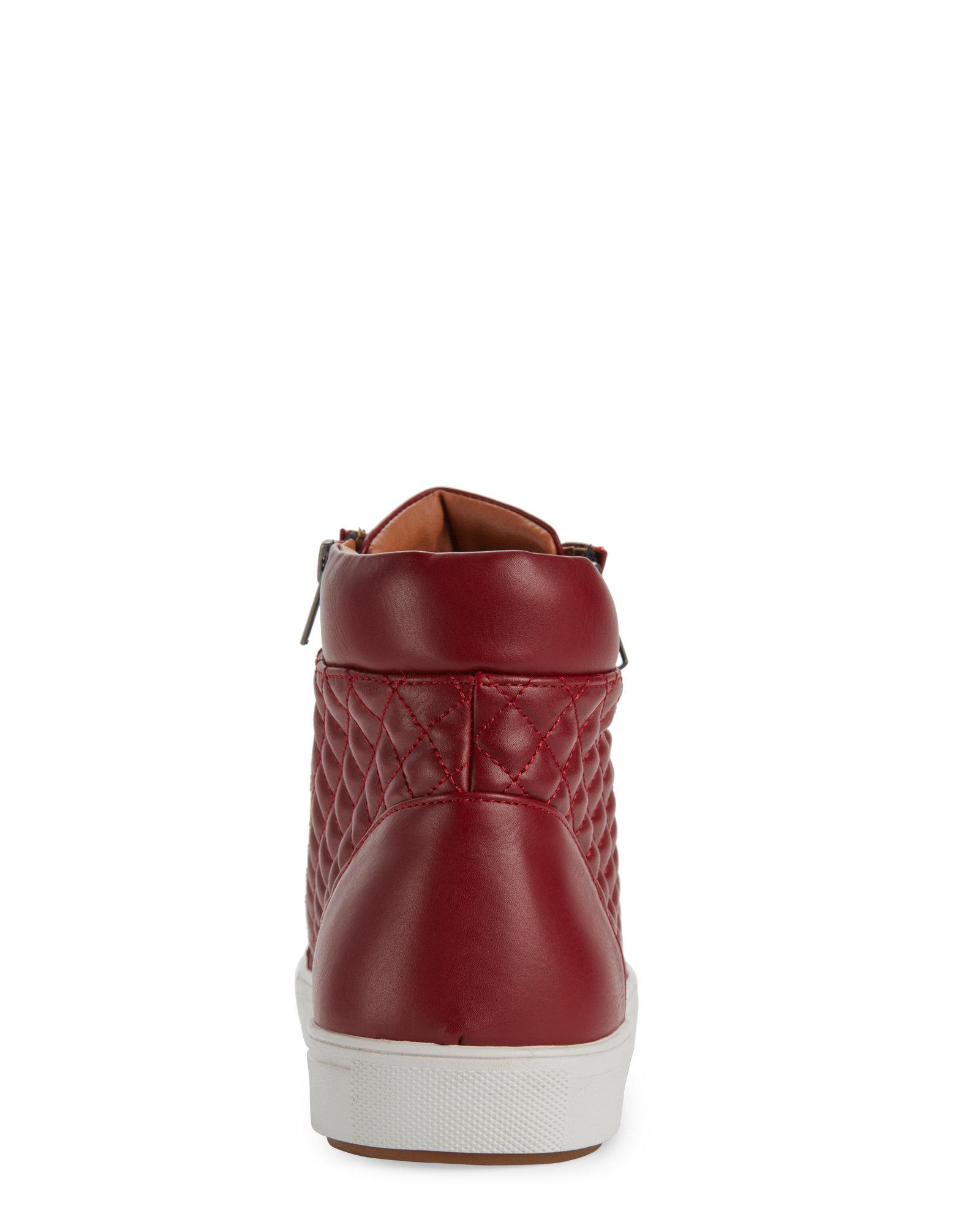 ec6ea4c8263 Lyst - Steve Madden Red Quodis Quilted High Top Sneakers in Red for Men