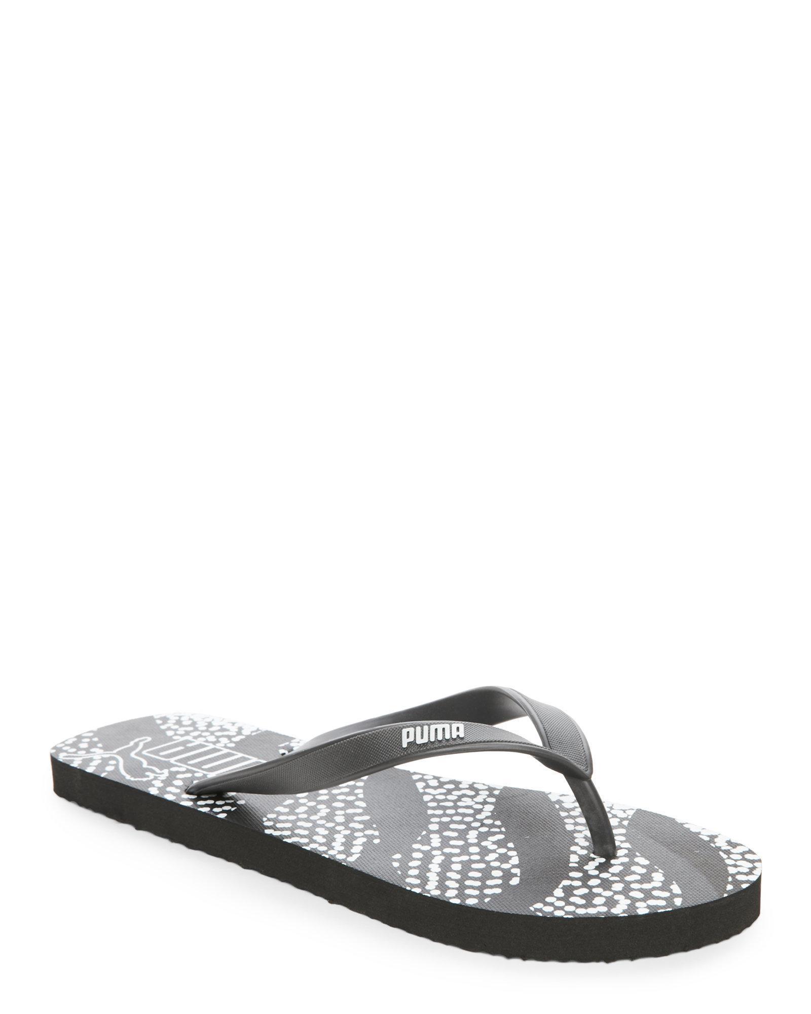 puma black white spotted flip flops in black lyst. Black Bedroom Furniture Sets. Home Design Ideas