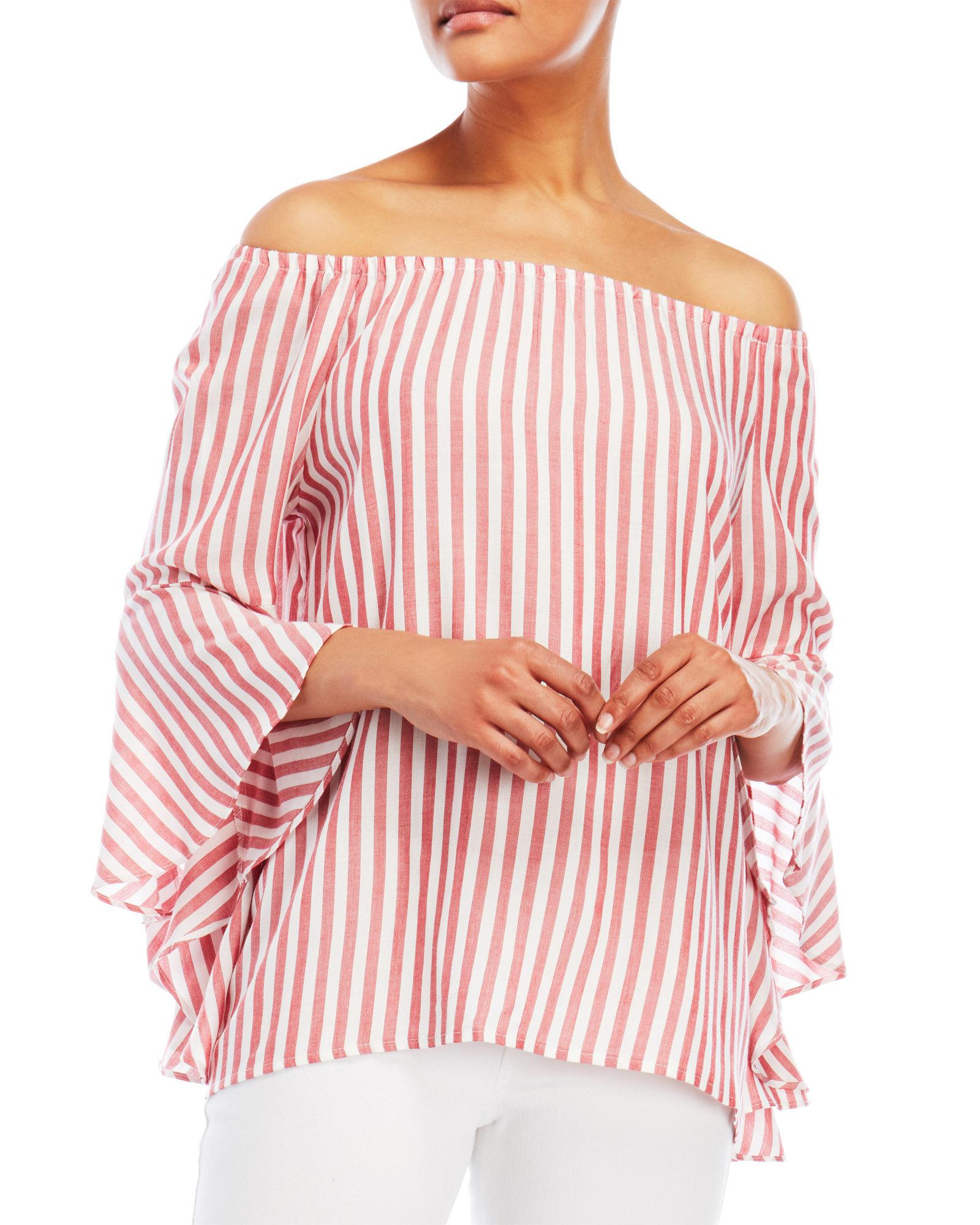 da3a61f66f0f5 Lyst - Fever Red Stripe Off-the-shoulder Bell Sleeve Top in Red
