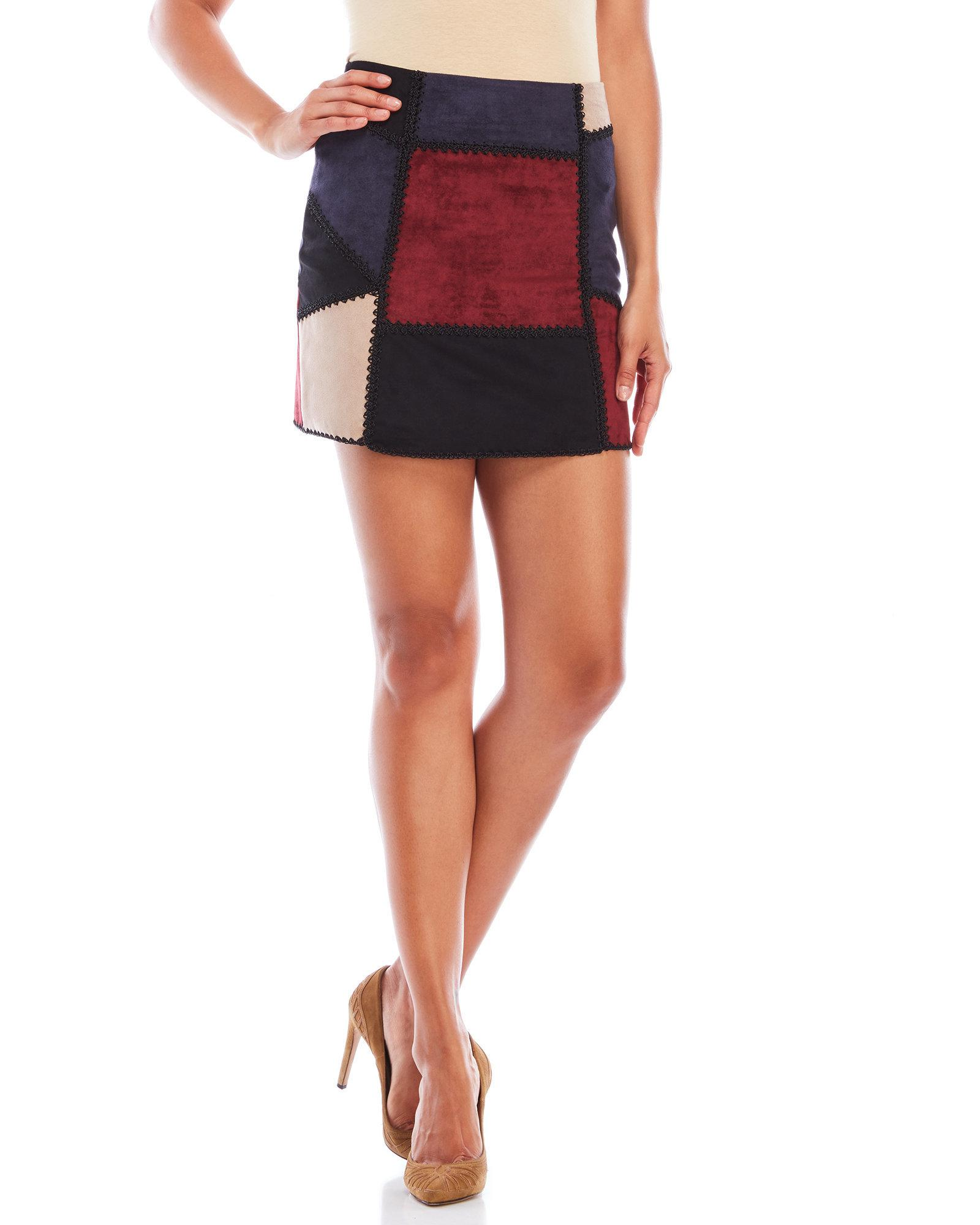 8676ead67 Romeo and Juliet Couture Patchwork Faux Suede Mini Skirt - Lyst