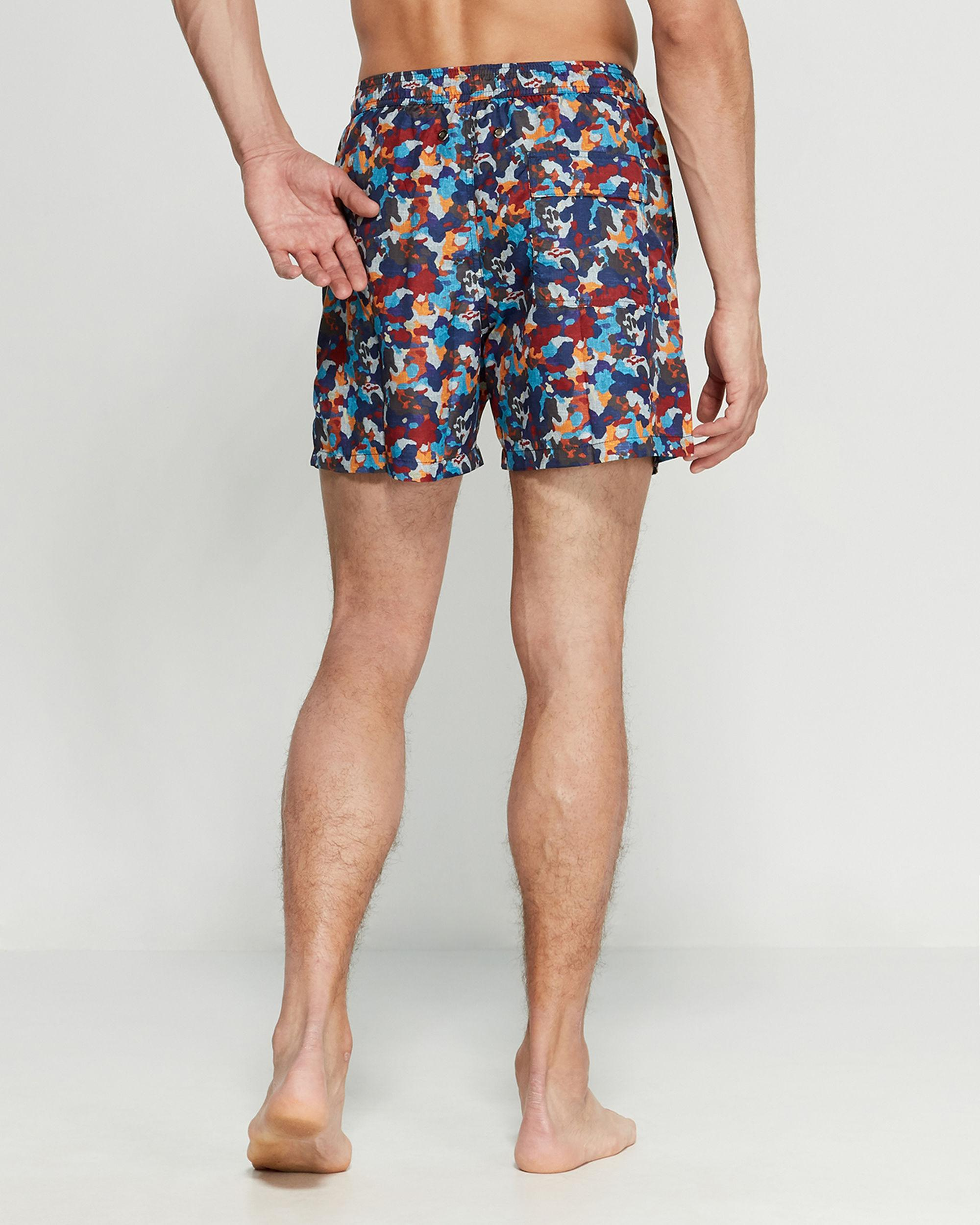 759cfab5fc610 Lyst - Jared Lang Blue & Red Camouflage Swim Trunks in Blue for Men