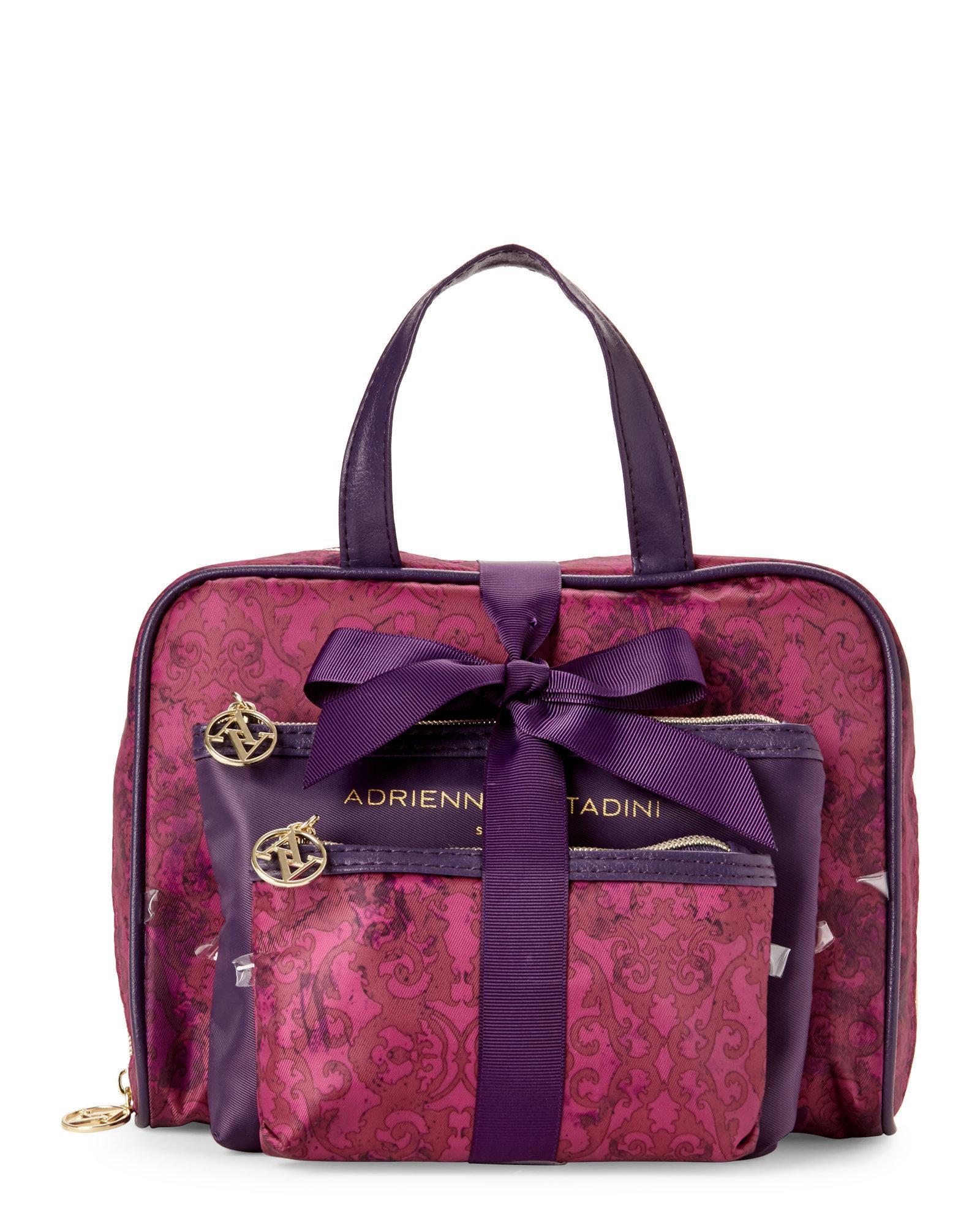 c3f33dffe0 Lyst - Adrienne Vittadini Set Of 3 Purple Damask Cosmetic Bag Set in ...