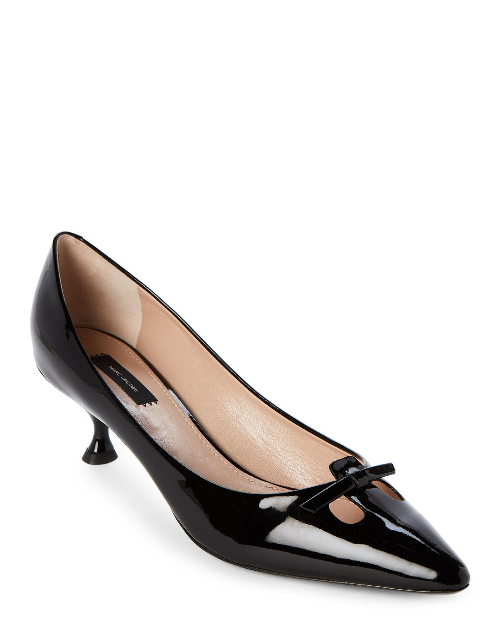 e11cebdc8f21 Lyst - Marc Jacobs Black Pointed Toe Patent Kitten Heel Pumps in Black