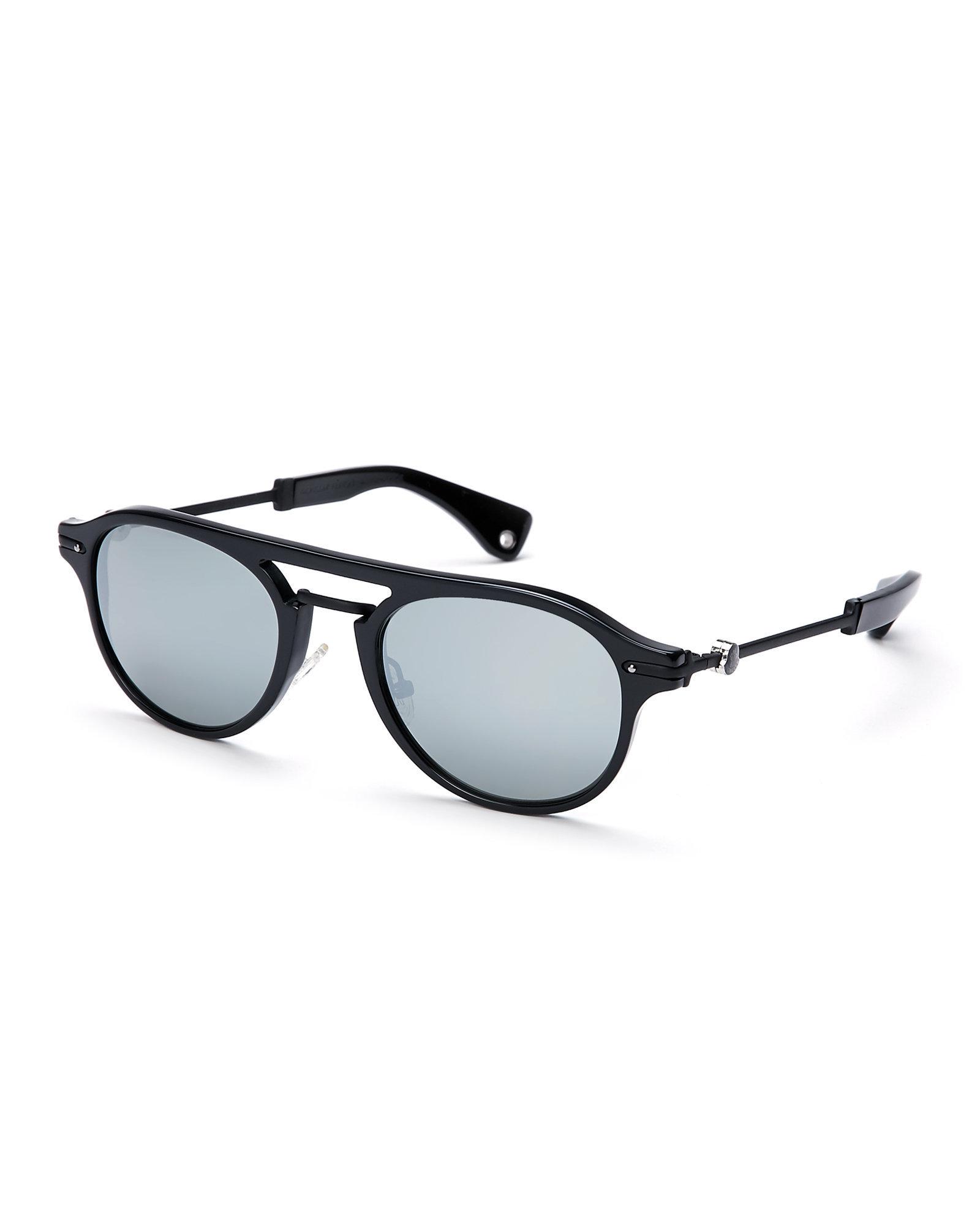 83c400c9599 Lyst - Moncler Black Mc503 Aviator Sunglasses in Black for Men
