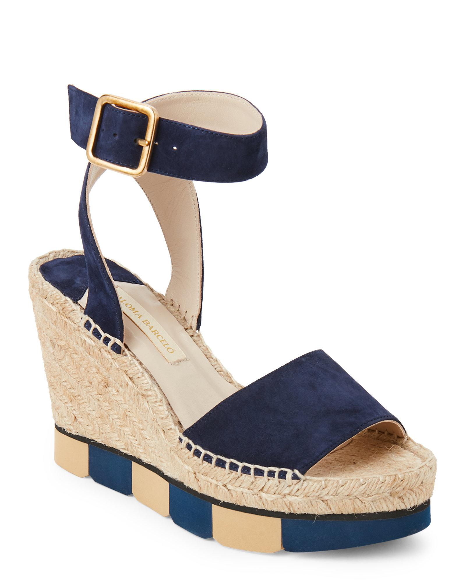 813e1b4864b0 Lyst - Paloma Barceló Navy Lisette Suede Wedge Espadrilles in Blue