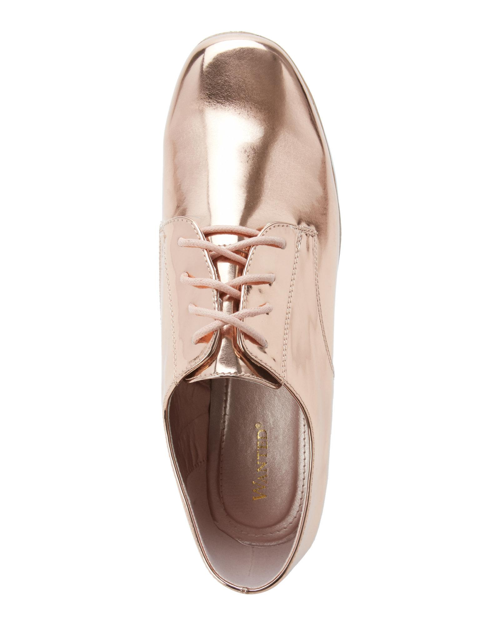 cd0360f266dc Lyst - Wanted Rose Gold Beekman Platform Oxfords in Pink