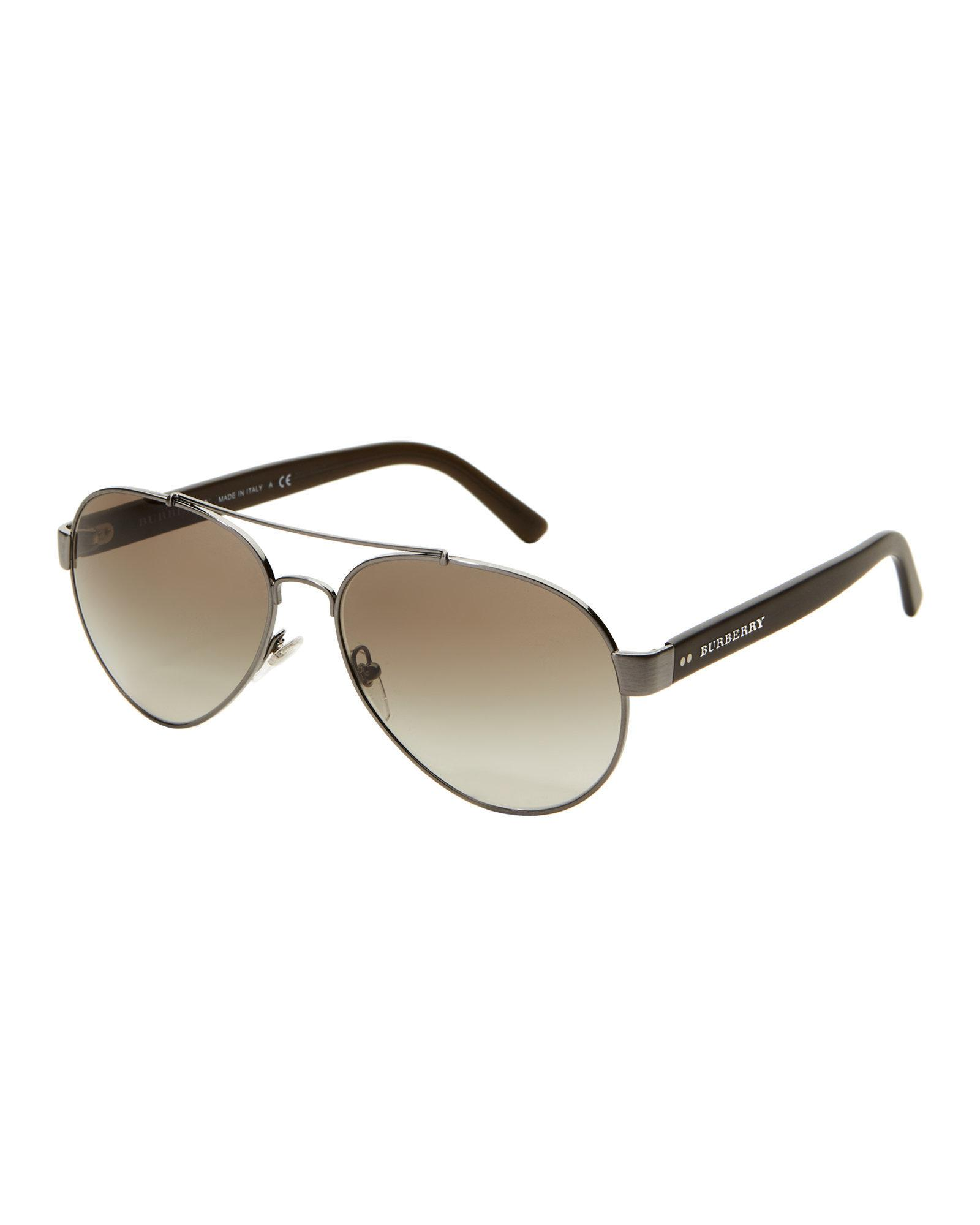 053083fe92f2 Lyst - Burberry Be3086 Gunmetal Aviator Sunglasses