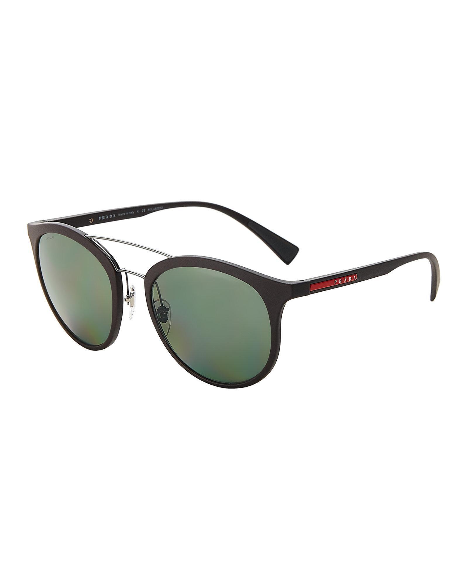 01106a4f4c Lyst - Prada Sport Sps 04s Black Round Sunglasses in Black for Men