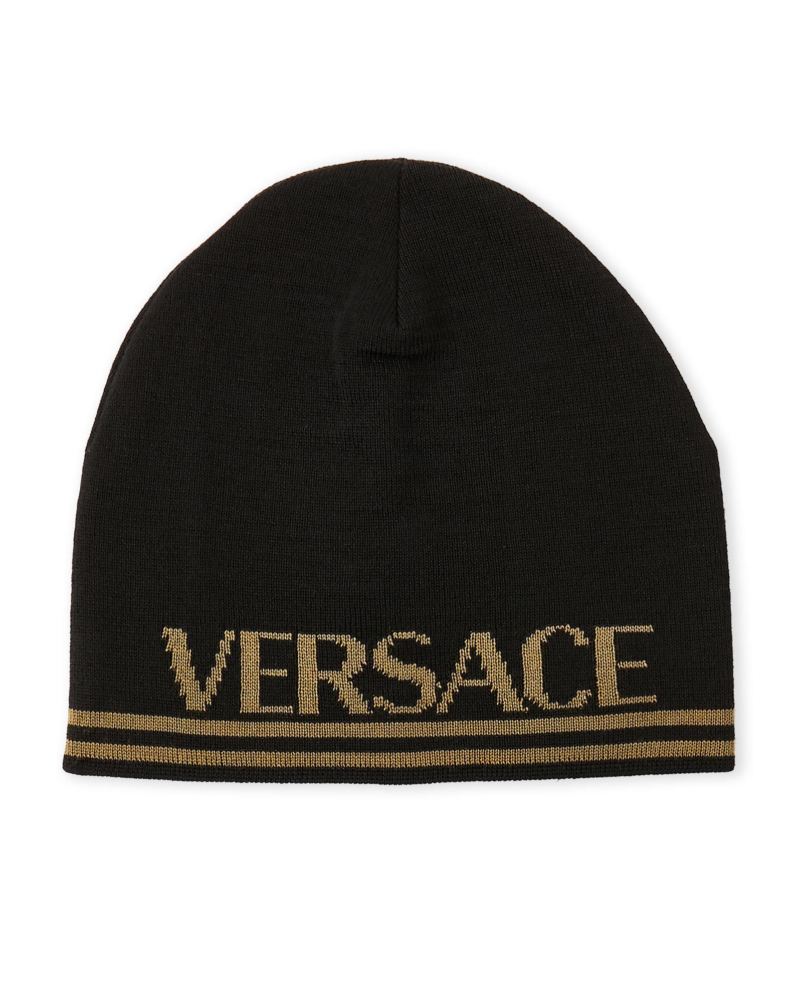 Lyst - Versace Logo Beanie in Black for Men 34d83f1537d
