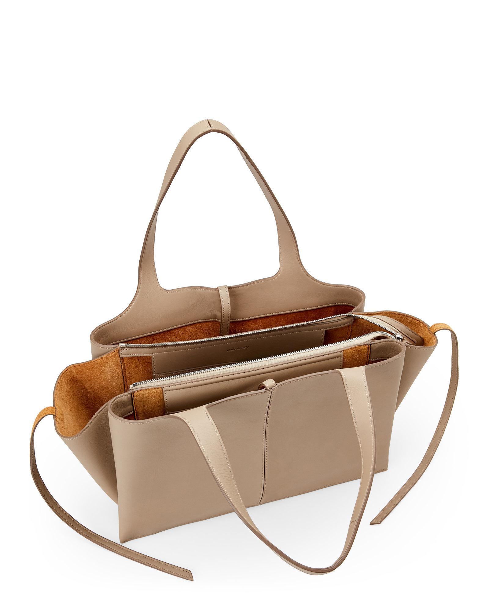 25f62fd49982 Lyst - Céline Pale Beige Medium Tri-Fold Shoulder Bag in Natural
