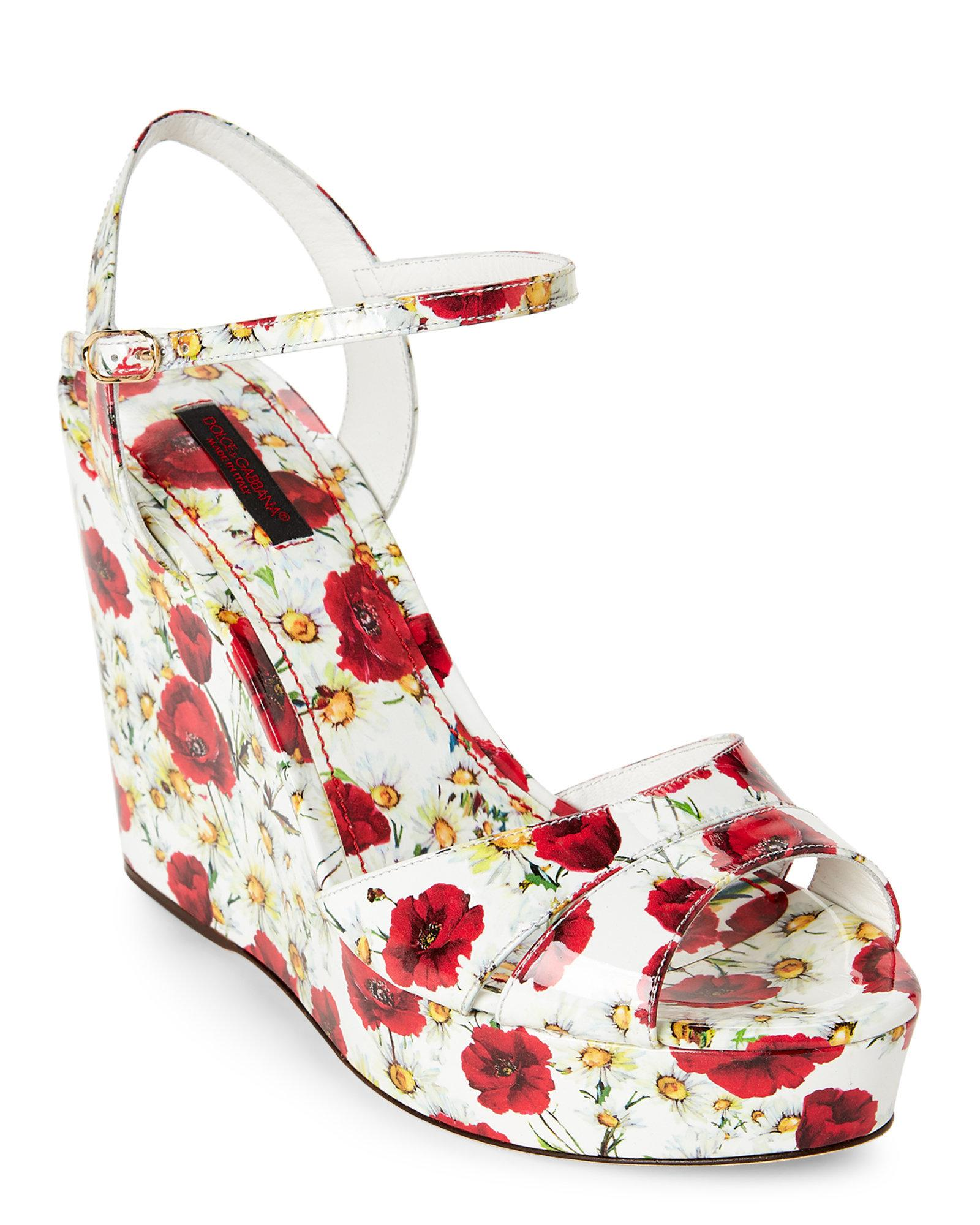 1b254c632b3b61 Lyst - Dolce   Gabbana White   Red Floral Print Platform Wedge ...