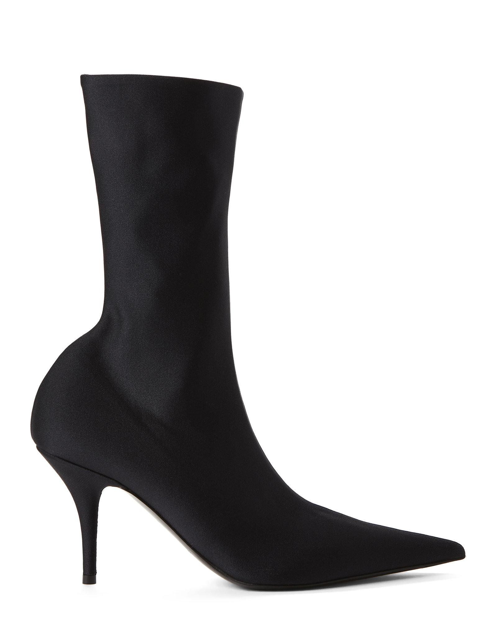 55c61ab83b236 Lyst - Balenciaga Stretch Pointed Toe Ankle Booties in Black