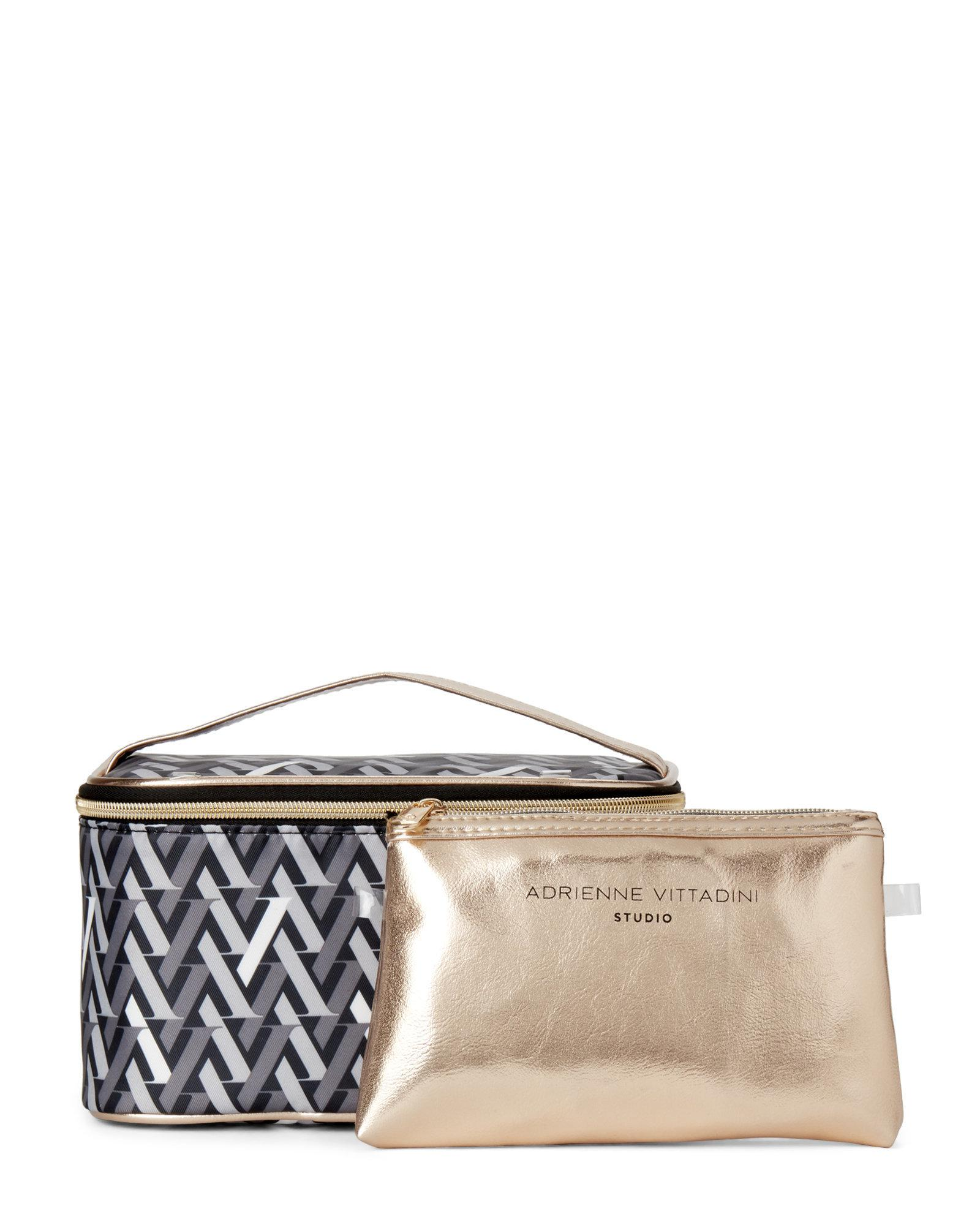 a59d555125 Lyst - Adrienne Vittadini Two-piece Printed Cosmetic Bag Set in Black