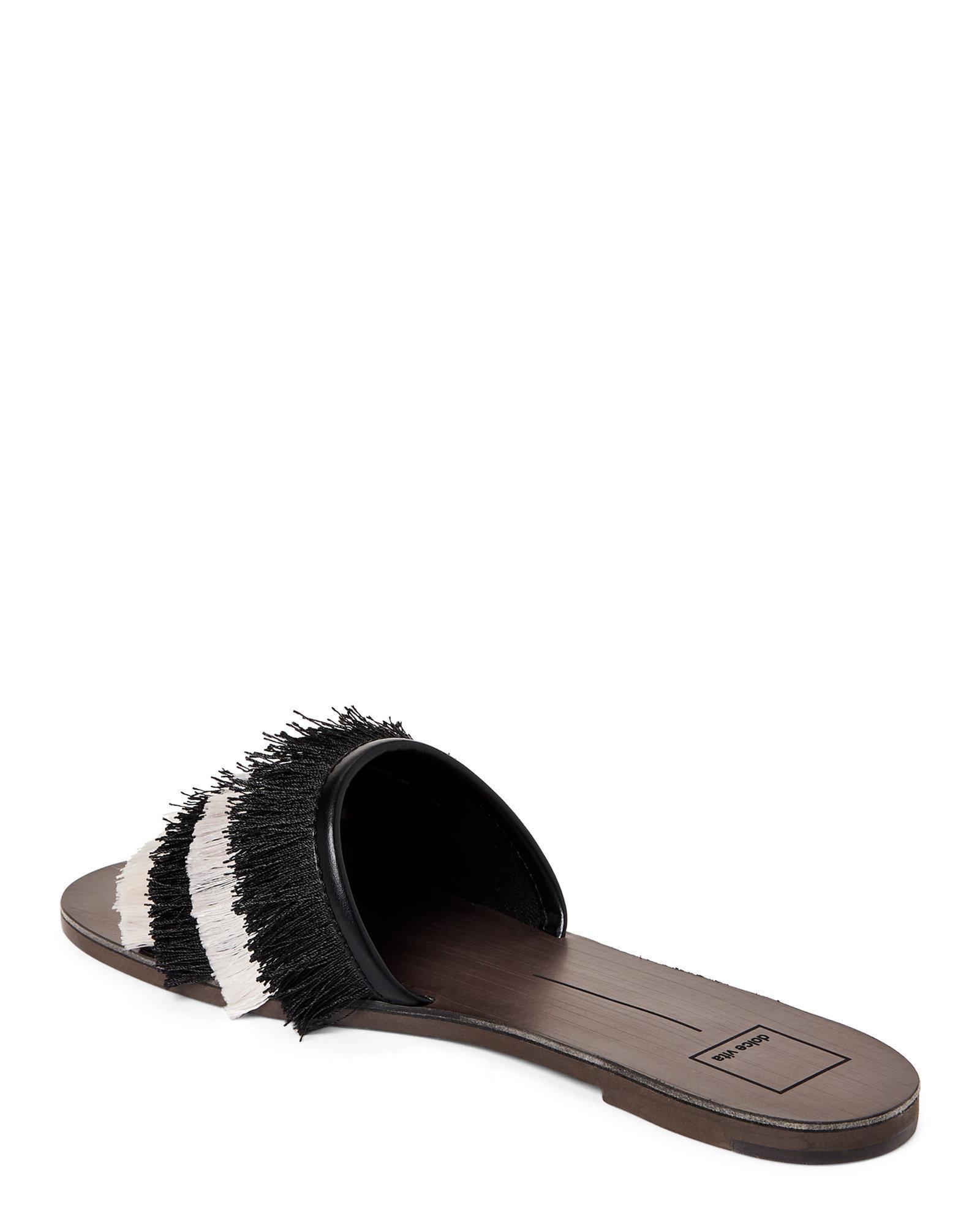1761e770d20 Lyst - Dolce Vita Black   White Celaya Fringe Slide Sandals in Black