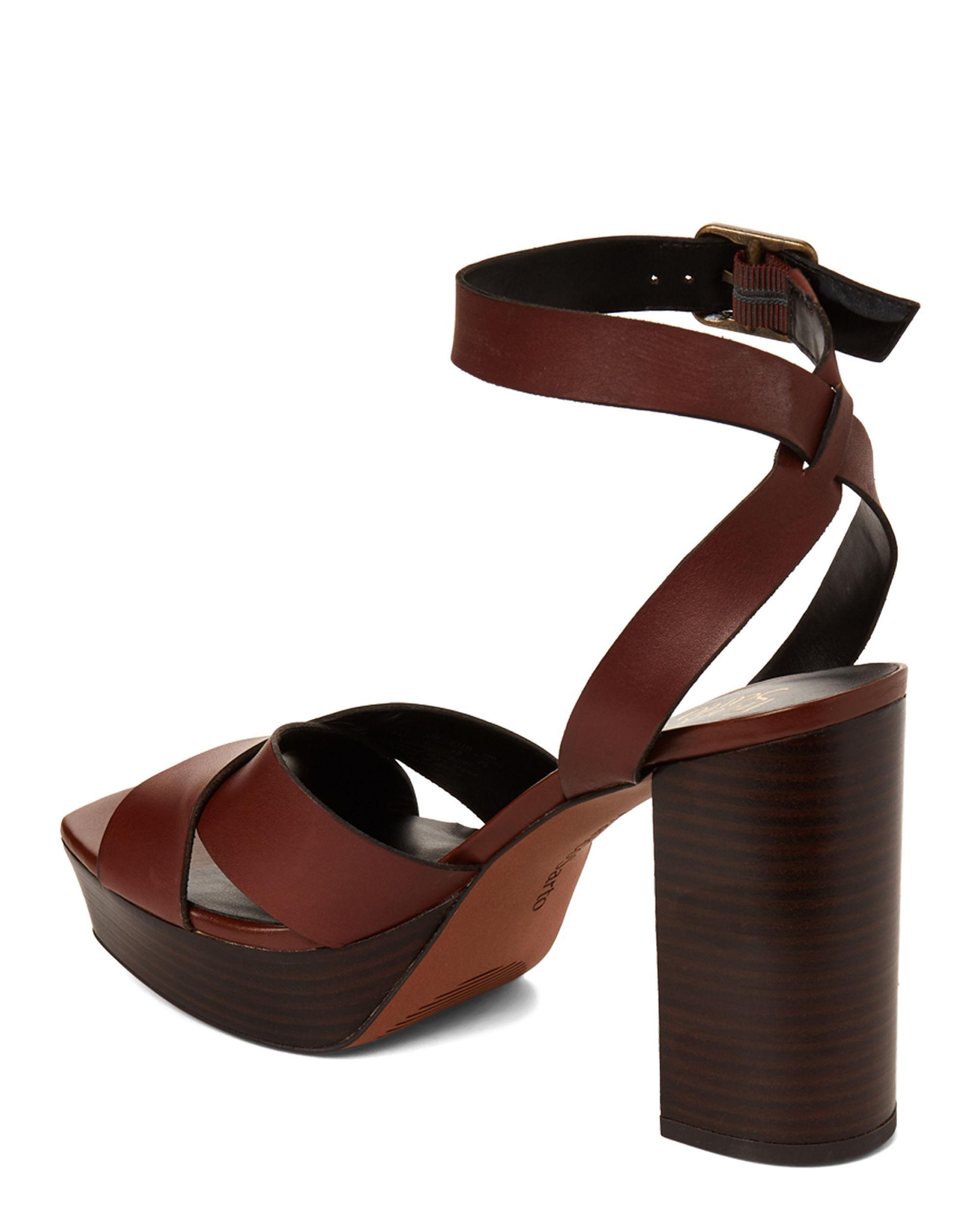 cd9307a7c8 Franco Sarto - Brown Coffee Bean Marta Platform Leather Sandals - Lyst.  View fullscreen