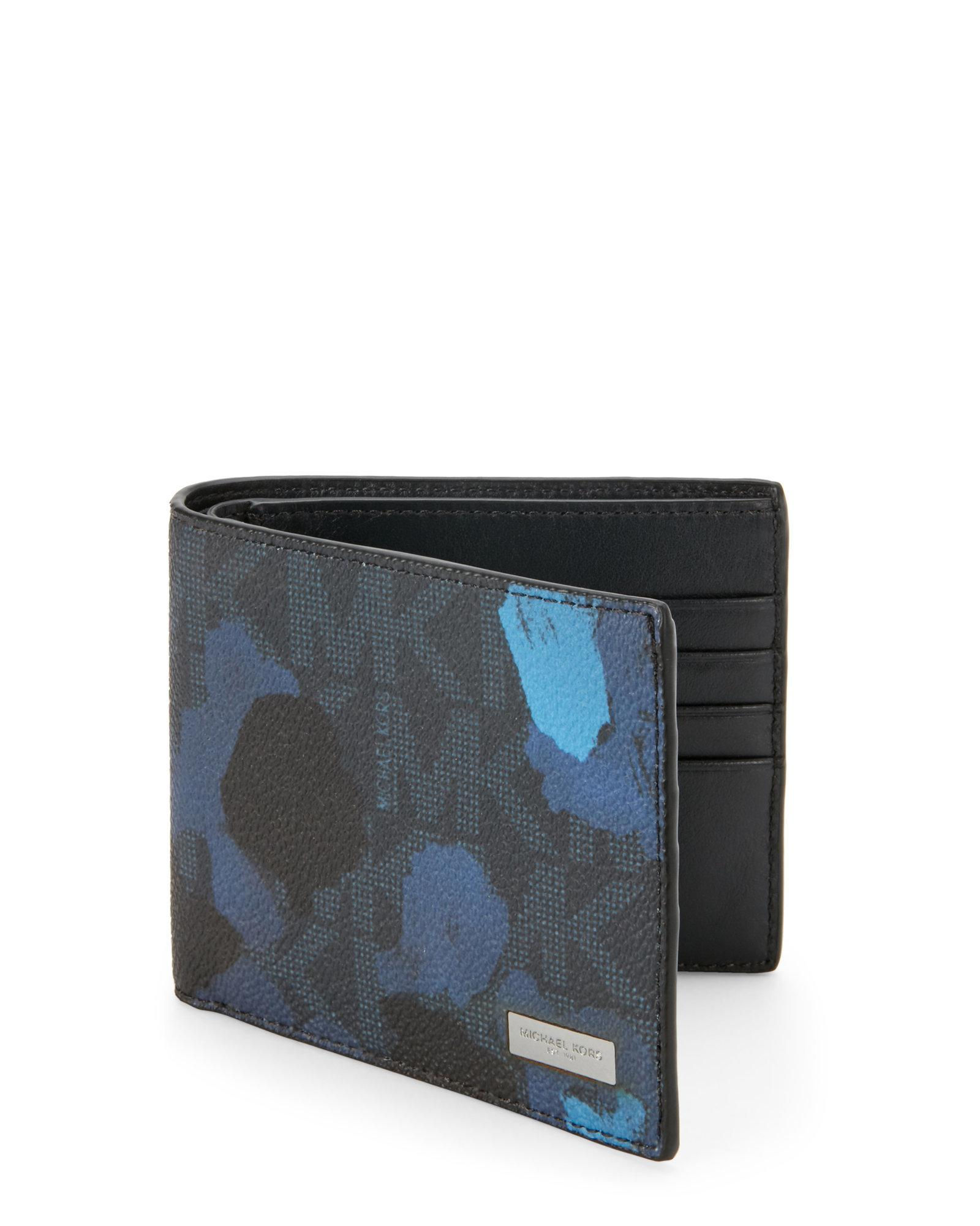 a824651fc438 Lyst - Michael Kors Jet Set Painterly Camo Billfold Wallet in Blue ...