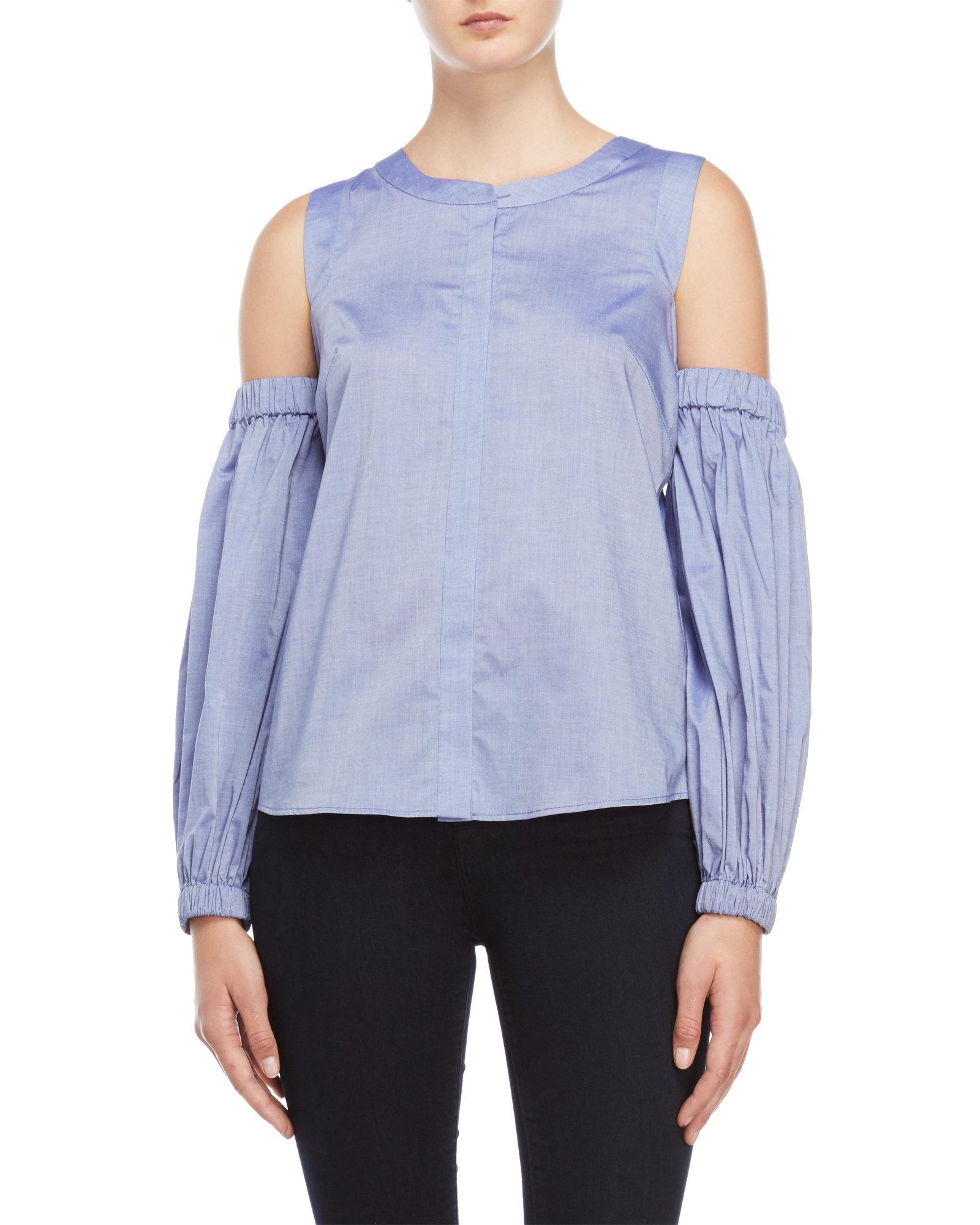 3bc6f8970f178 Lyst - Milly Lavender Mica Cold Shoulder Top in Blue