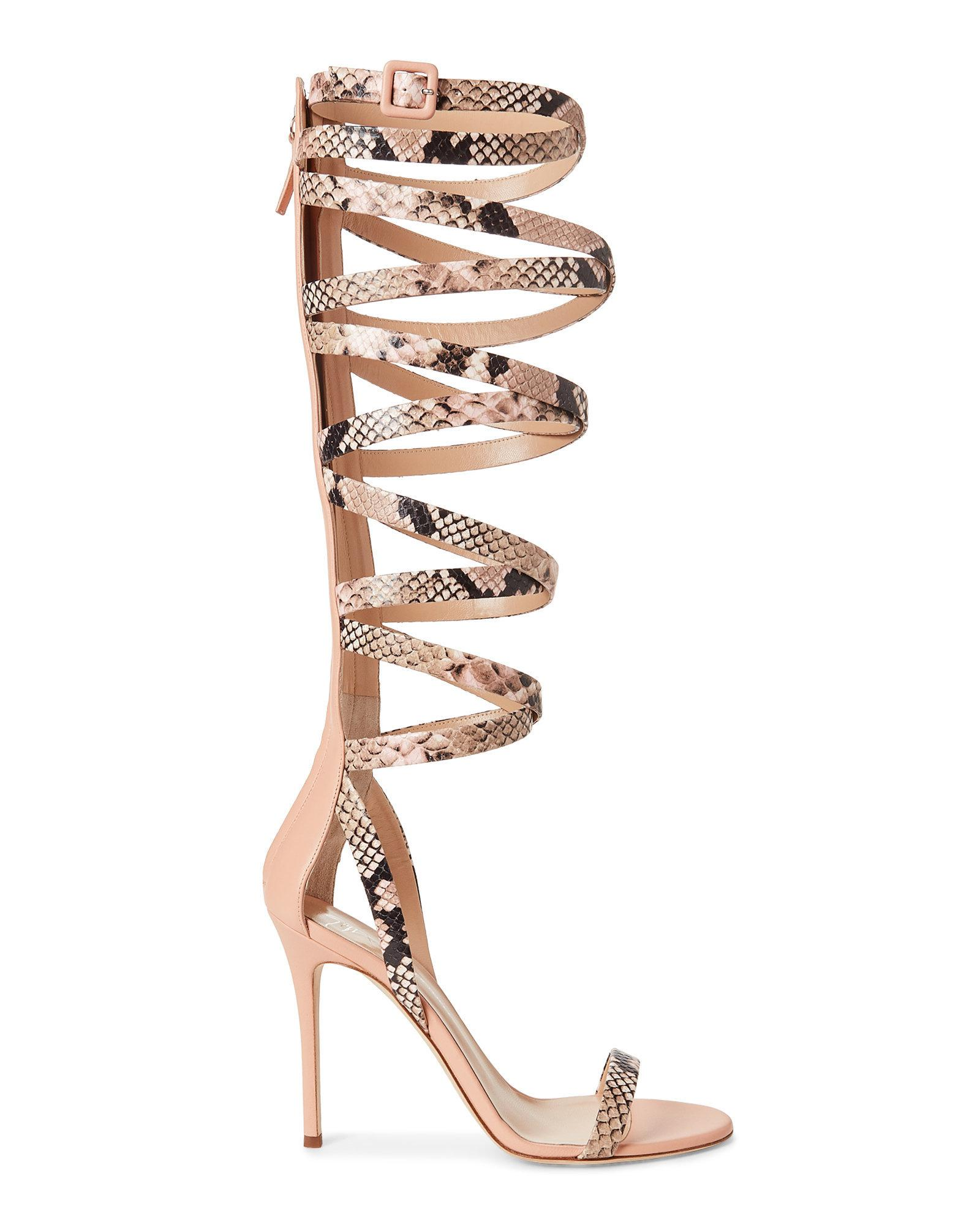 fashion Style online Giuseppe Zanotti Snakeskin Cage Sandals free shipping wide range of explore cheap price 48JOTF