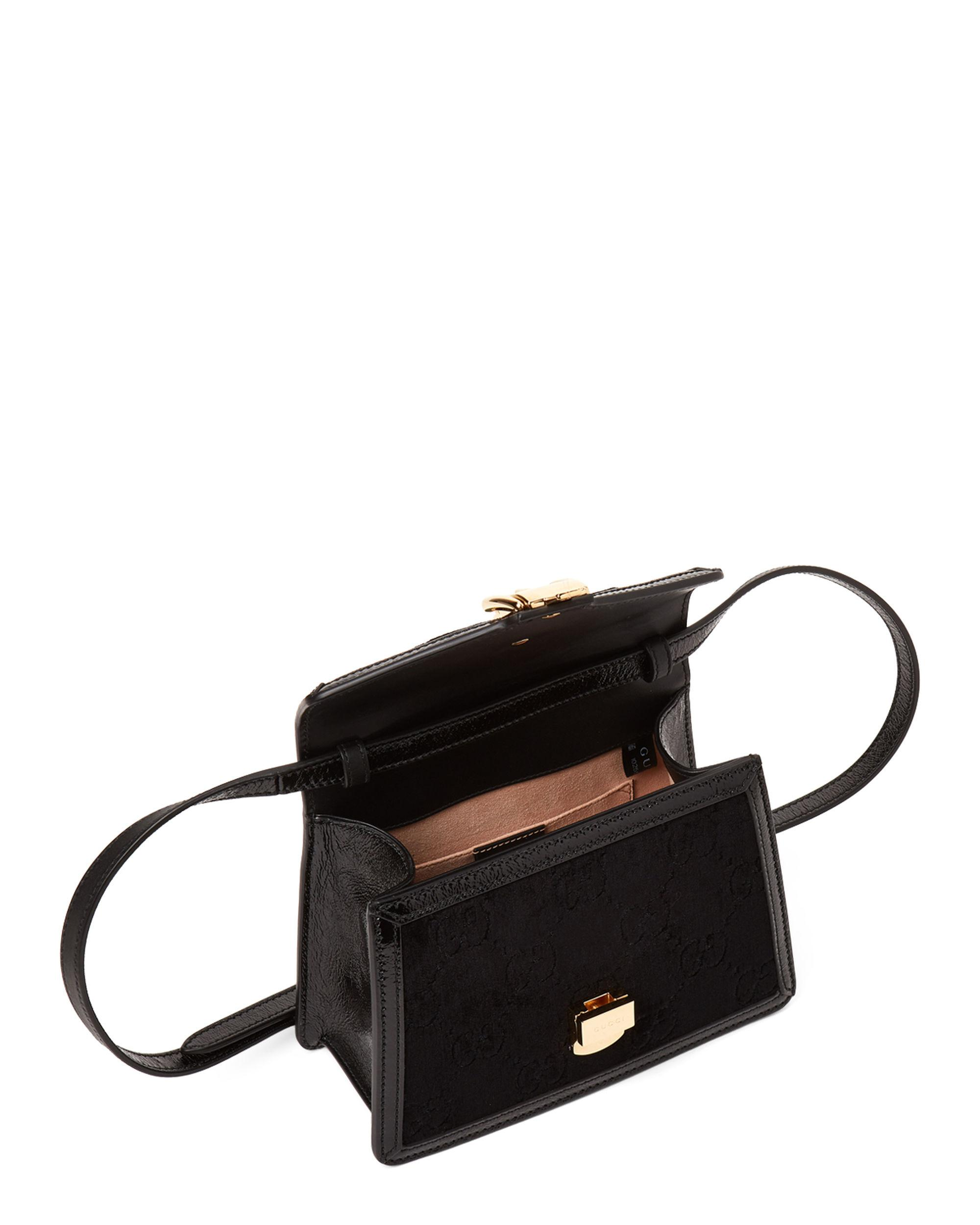 627ca4f6023 Lyst - Gucci Black Sylvie GG Velvet Mini Top Handle Bag in Black