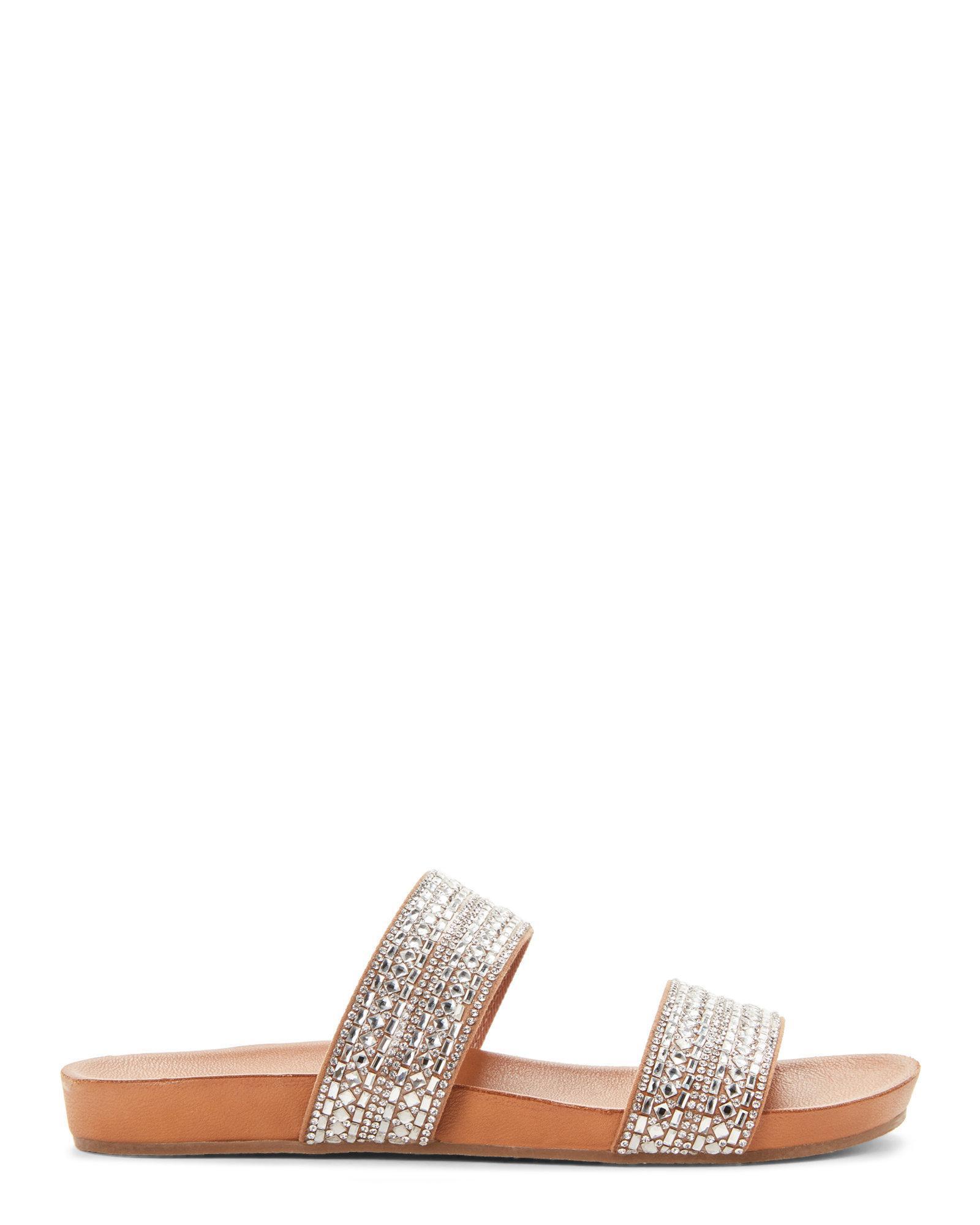 a38ab789637 Lyst - Steve Madden Rhinestone Dynamo Double Band Slide Sandals