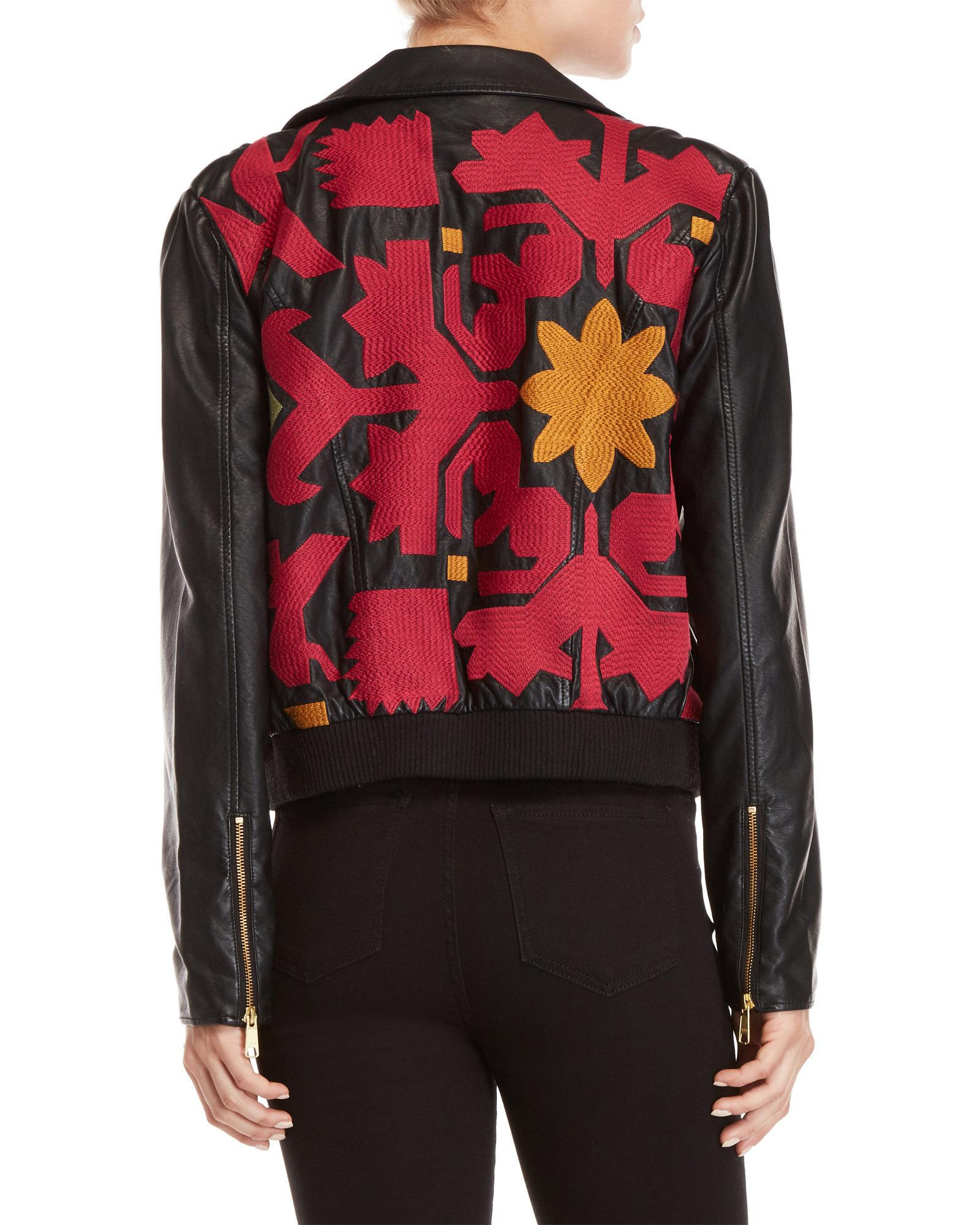 9c8de3a74 Lyst - Free People Embroidered Vegan Bomber Jacket in Black