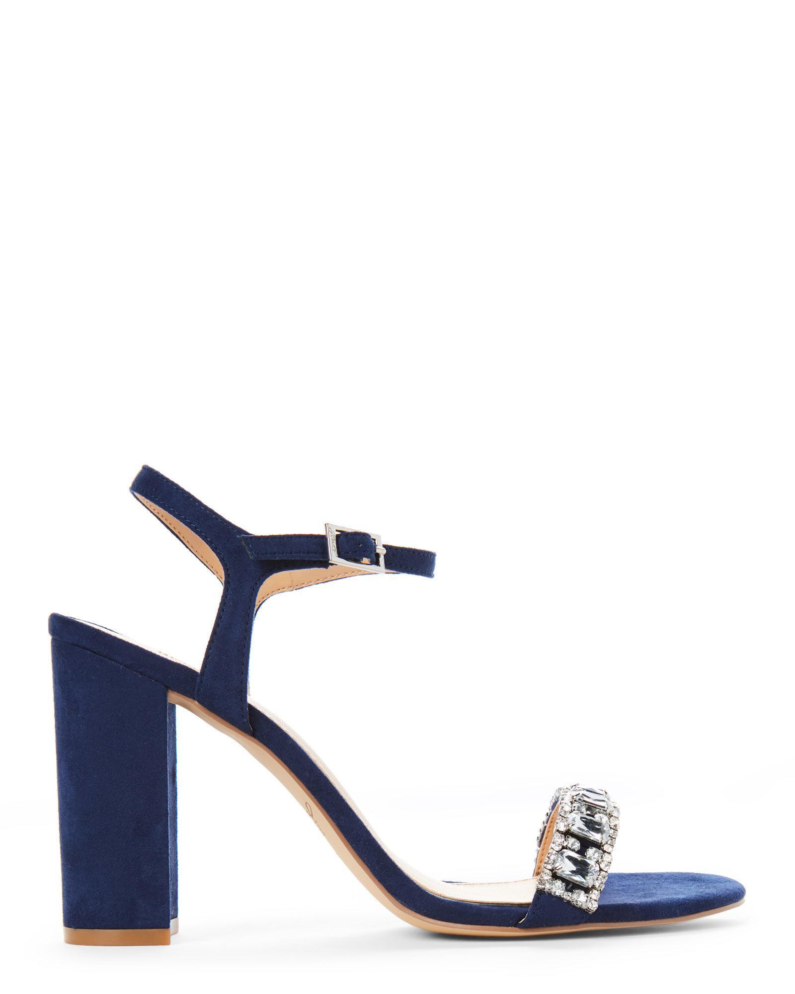 f5aa87d5048 Lyst - Badgley Mischka Navy Hendricks Embellished Block Heel Sandals ...