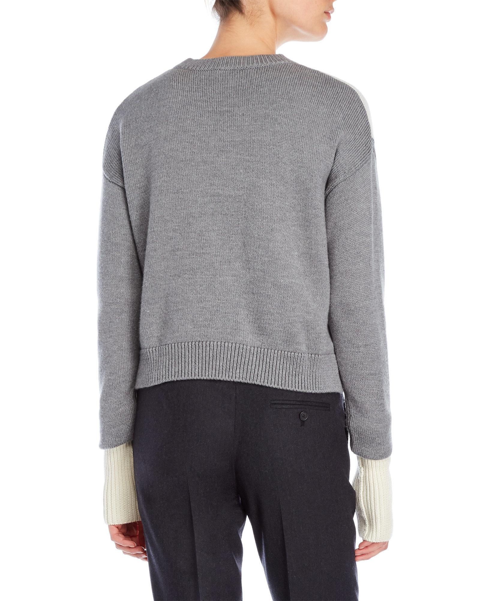 Jil sander navy Printed Wool Cropped Sweater in Gray | Lyst