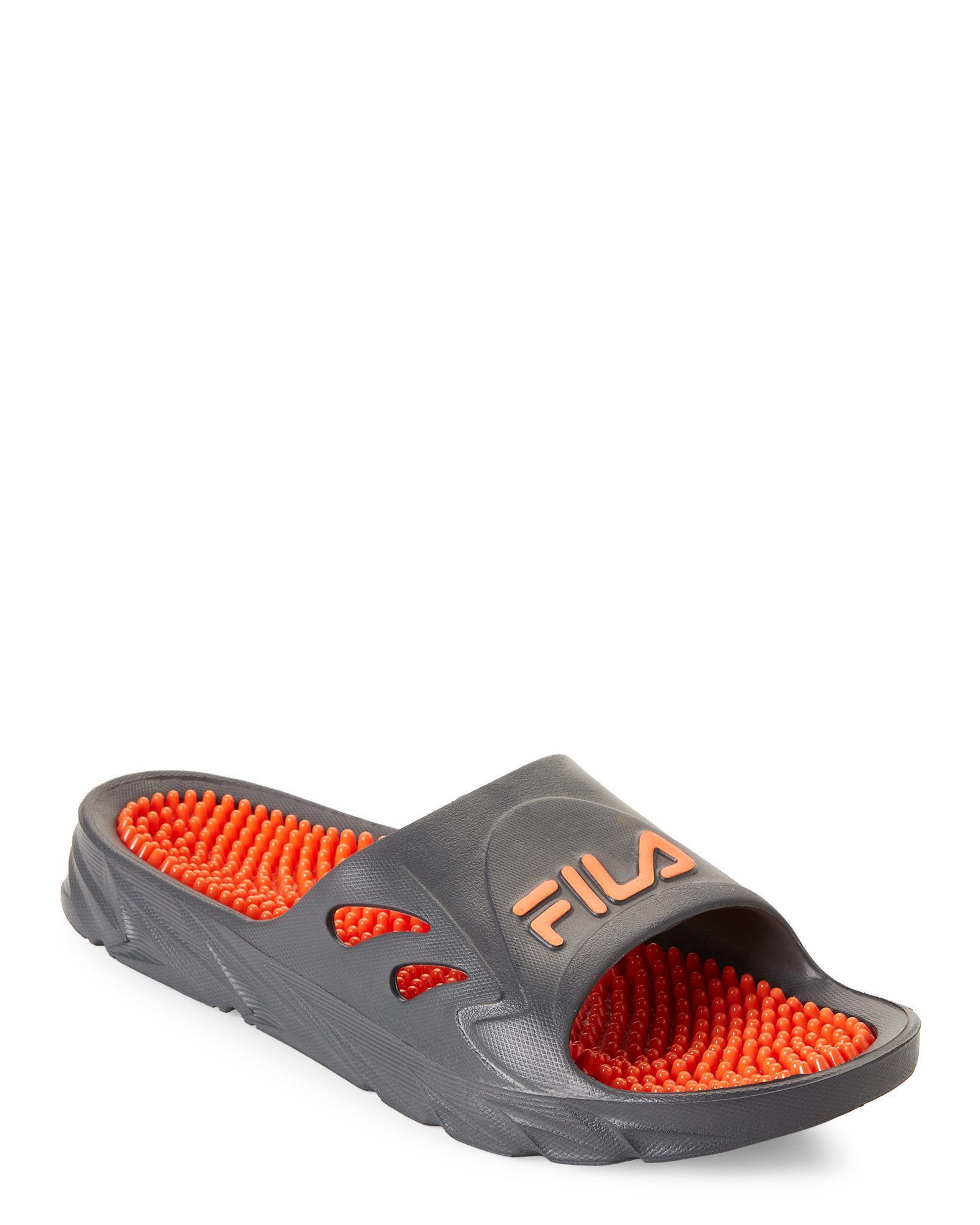 0e8e94eb4bd Lyst - Fila Grey   Orange Driftonic Massage Slide Sandals in Gray ...