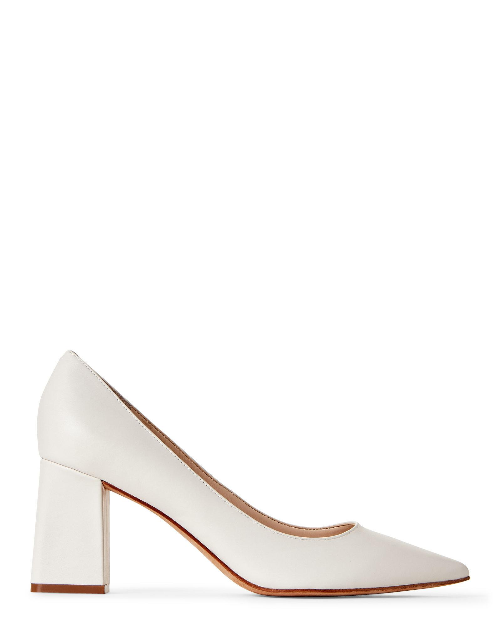 f7d90999ecd Lyst - Marc Fisher Cream Zala Pointed Toe Block Heel Pumps in Natural