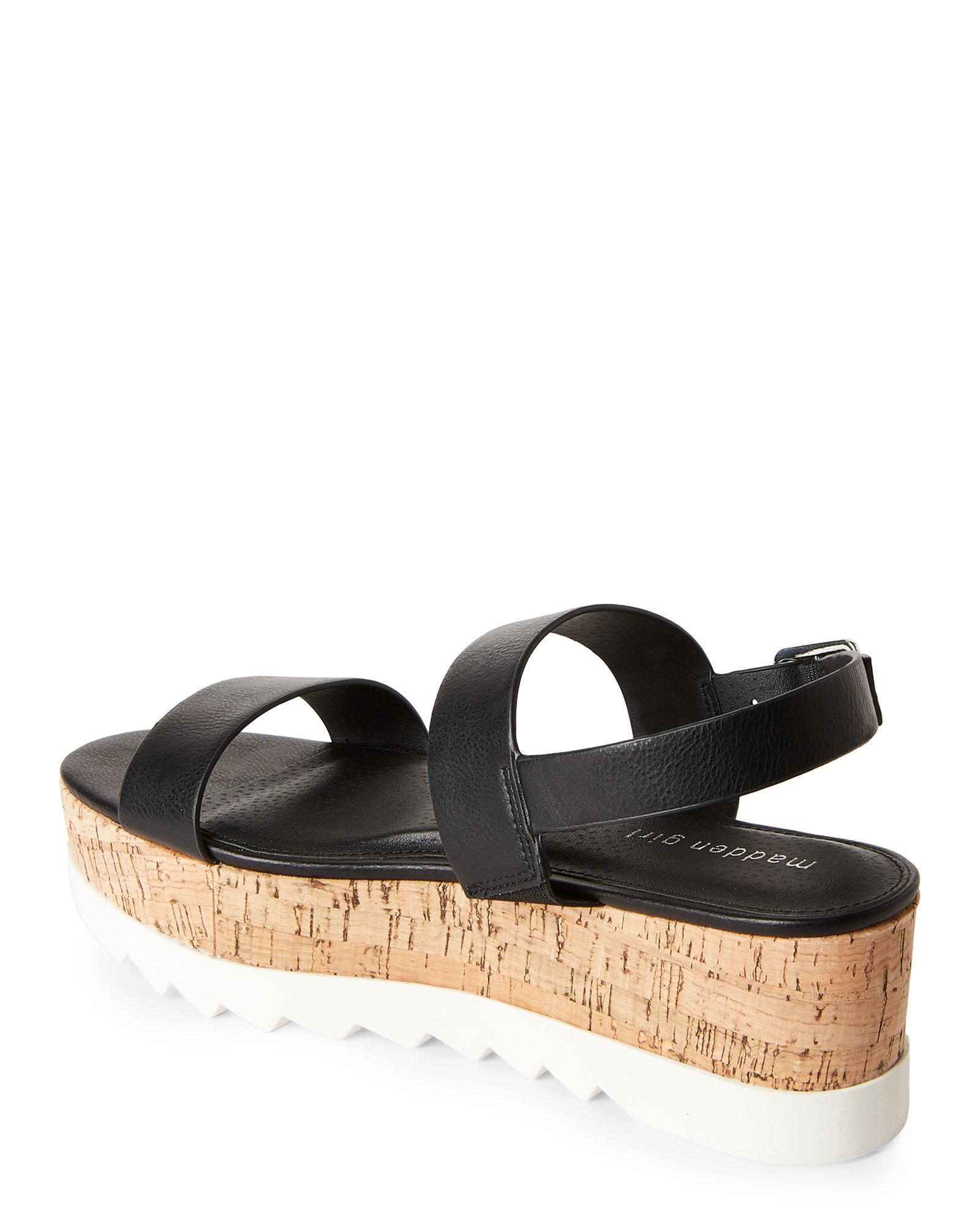 e0eeb949f95 Lyst - Madden Girl Black Suga Flatform Slingback Sandals in Black
