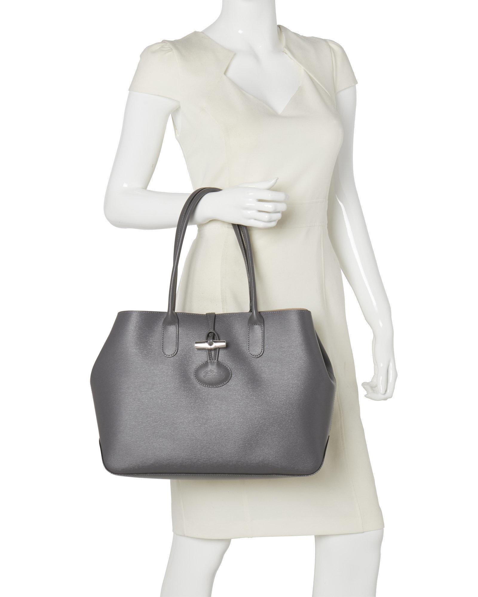 e898c3896c64 Lyst - Longchamp Roseau Grey Shoulder Bag in Gray