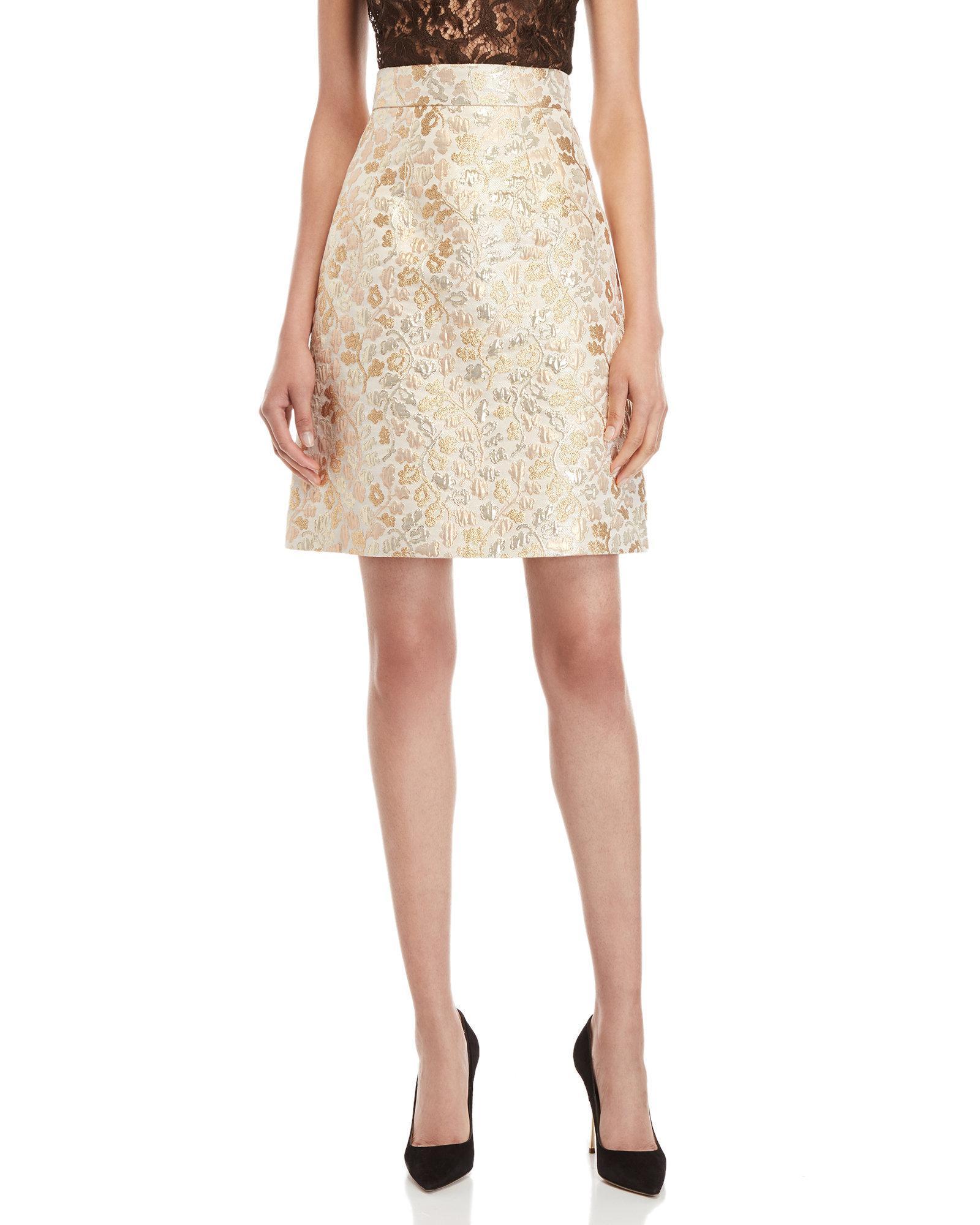 Lyst - Dolce   Gabbana Gold Brocade A-line Skirt in Metallic ef2ee18723