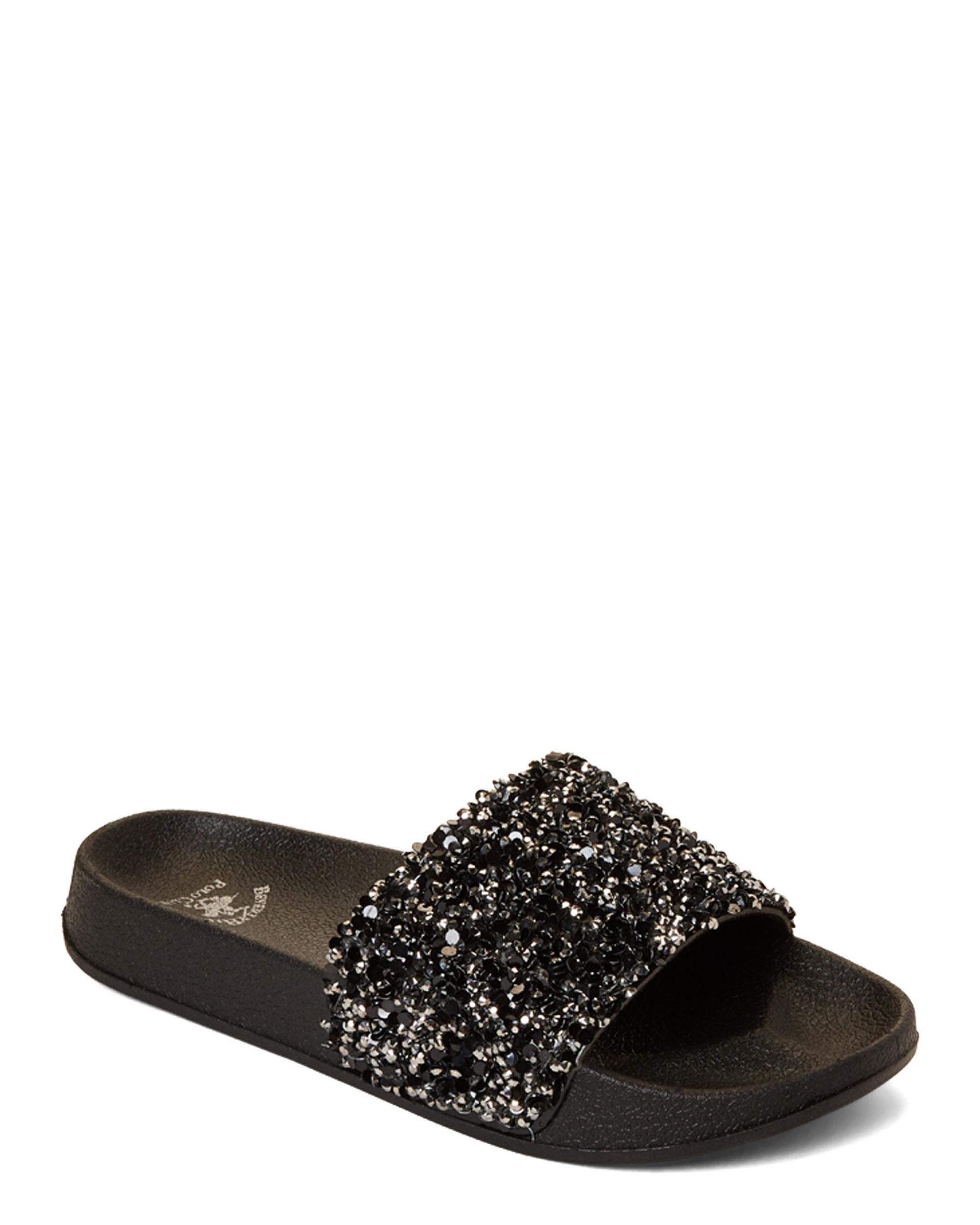 937873b09 Lyst - Beverly Hills Polo Club Rock Candy Slide Sandals in Black