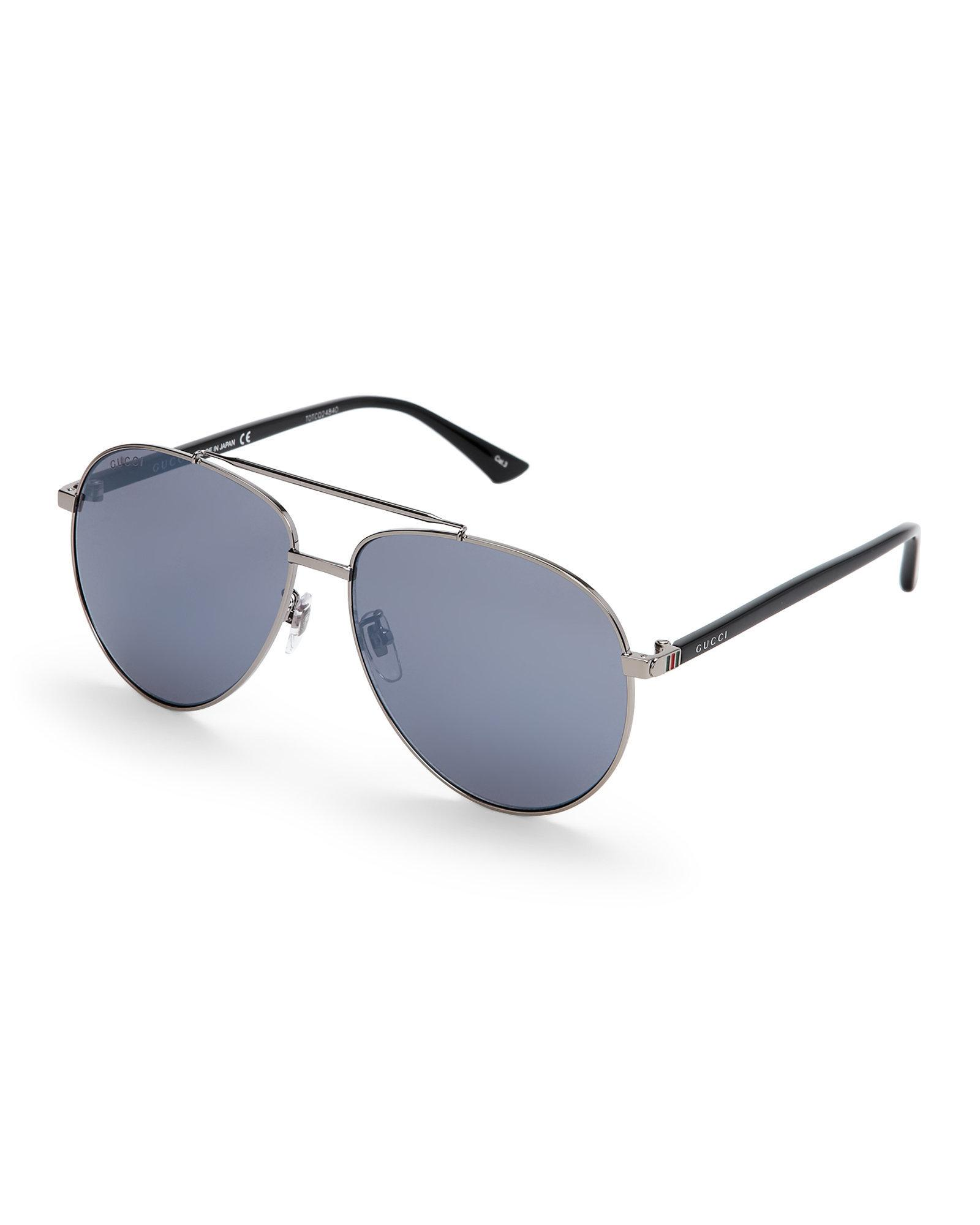 85e3c5aa38b Lyst - Gucci Gg 0043 S Ruthenium Aviator Sunglasses in Blue