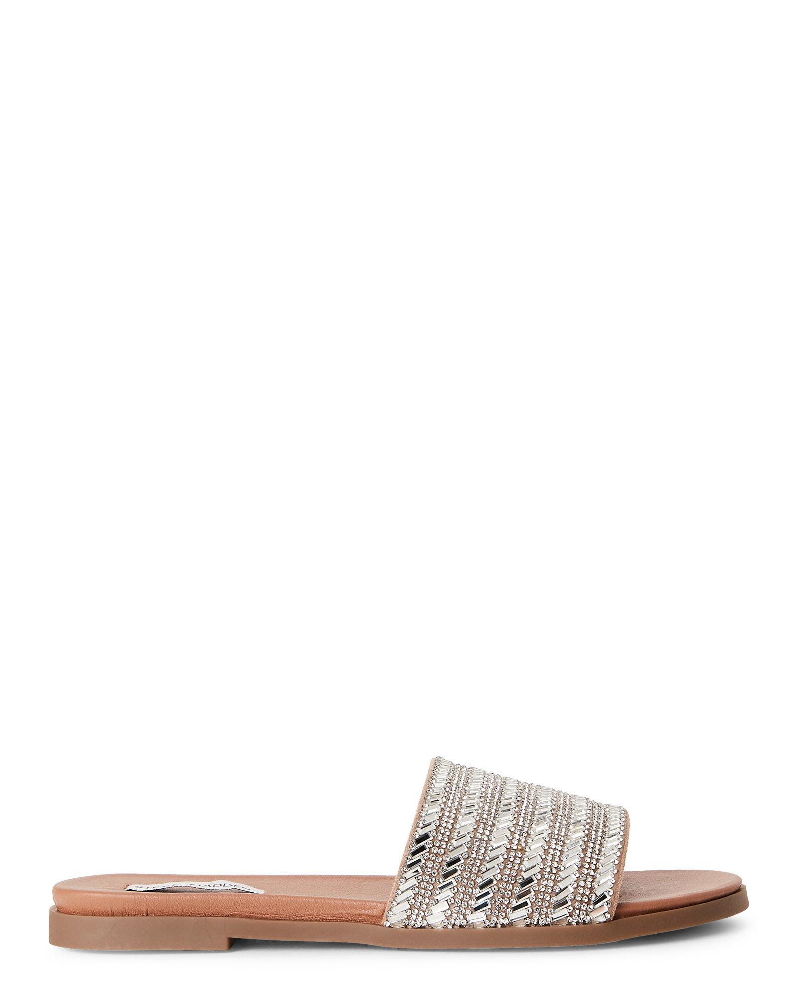 1fc315a2576 Lyst - Steve Madden Silver Karot Rhinestone Slide Sandals in Metallic