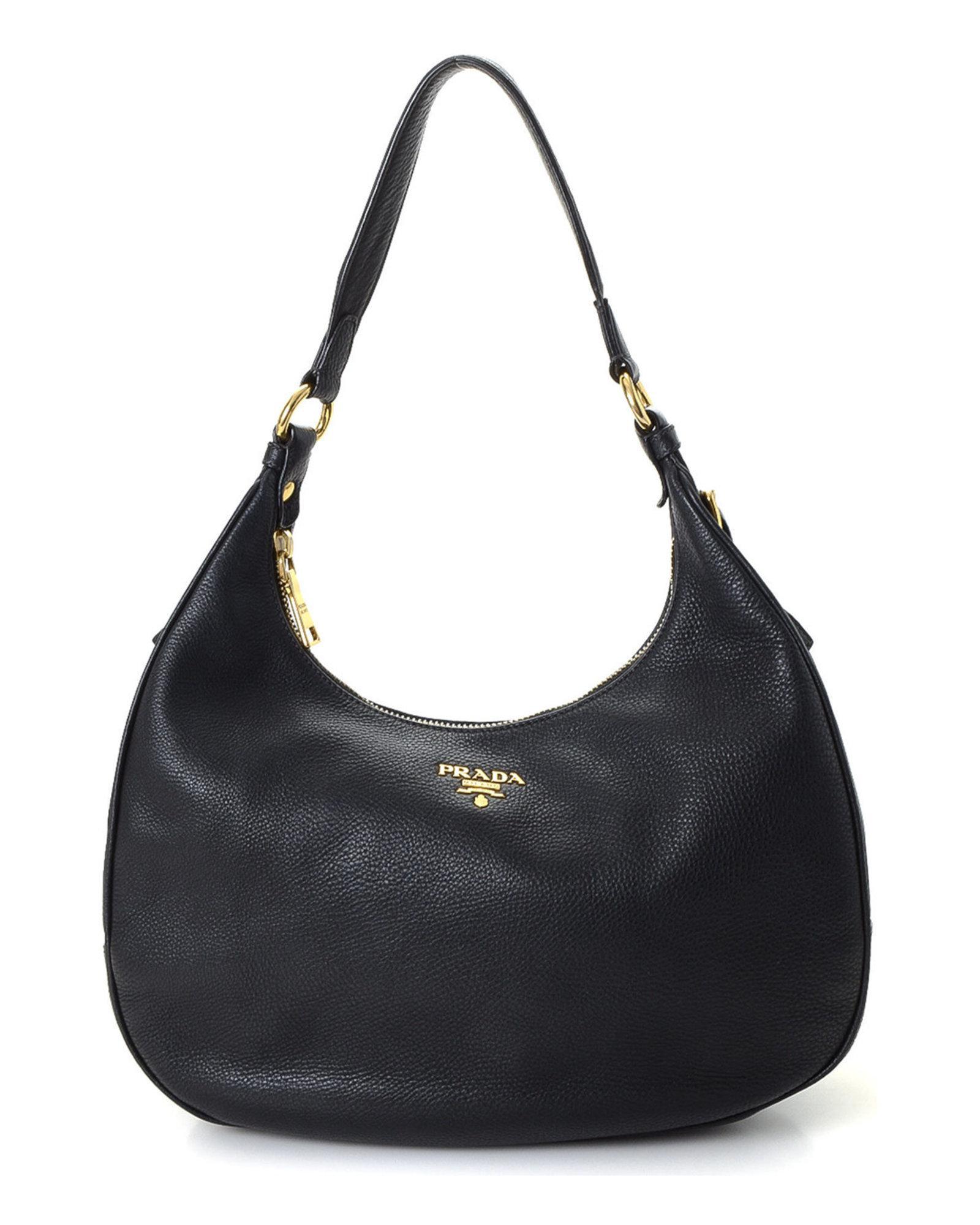 c81b6f2338 Lyst - Prada Vitello Daino Hobo Shoulder Bag - Vintage in Black